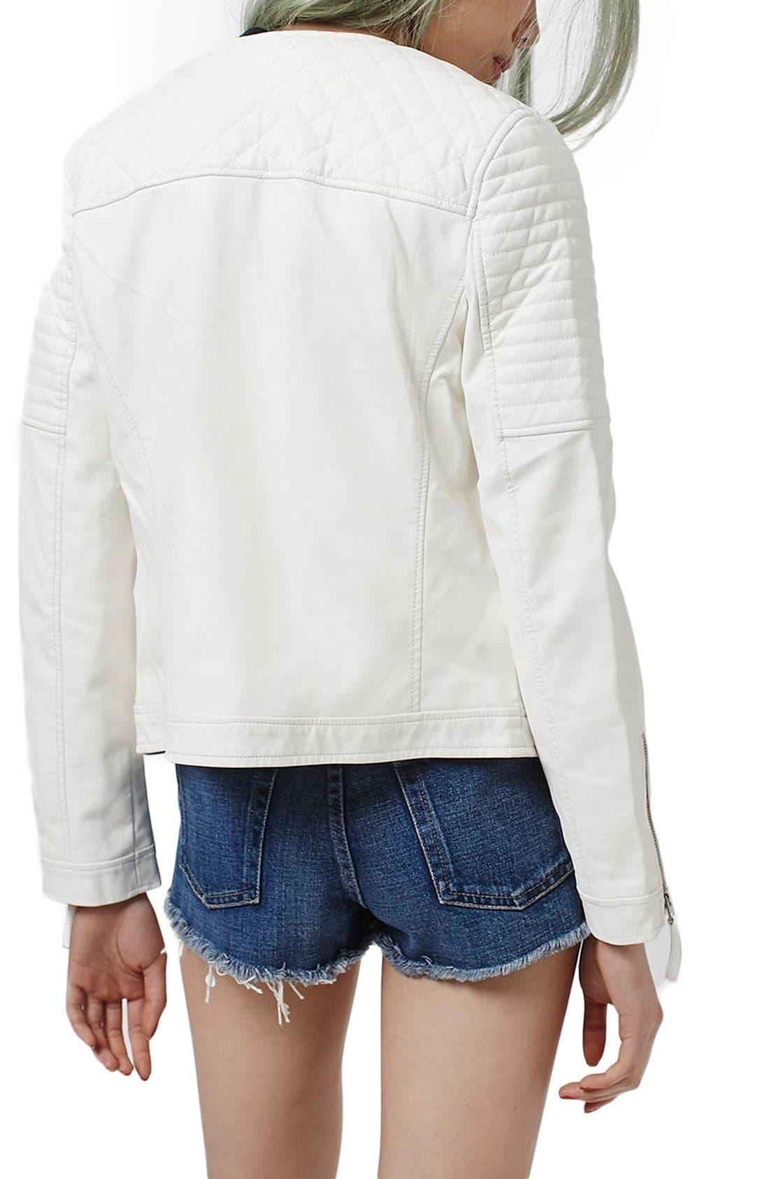Alternate Image 3  - Topshop Faux Leather Biker Jacket