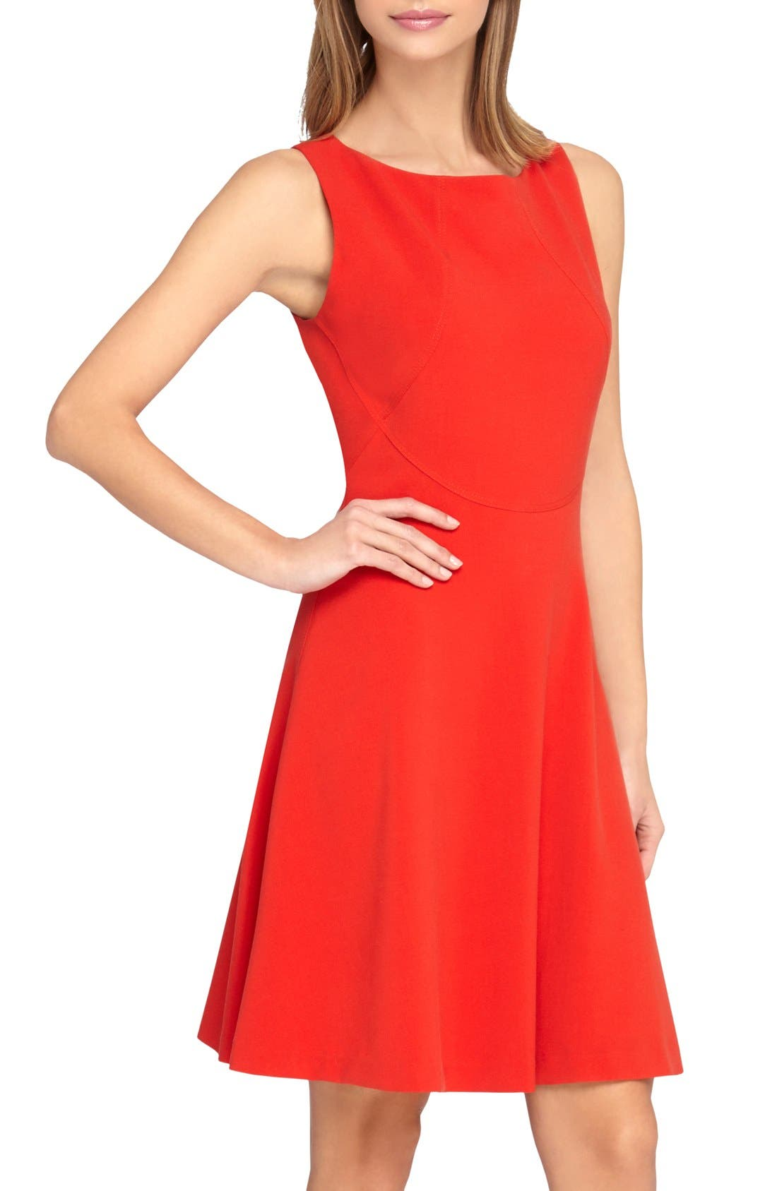 Alternate Image 1 Selected - Tahari Seamed Knit Fit & Flare Dress