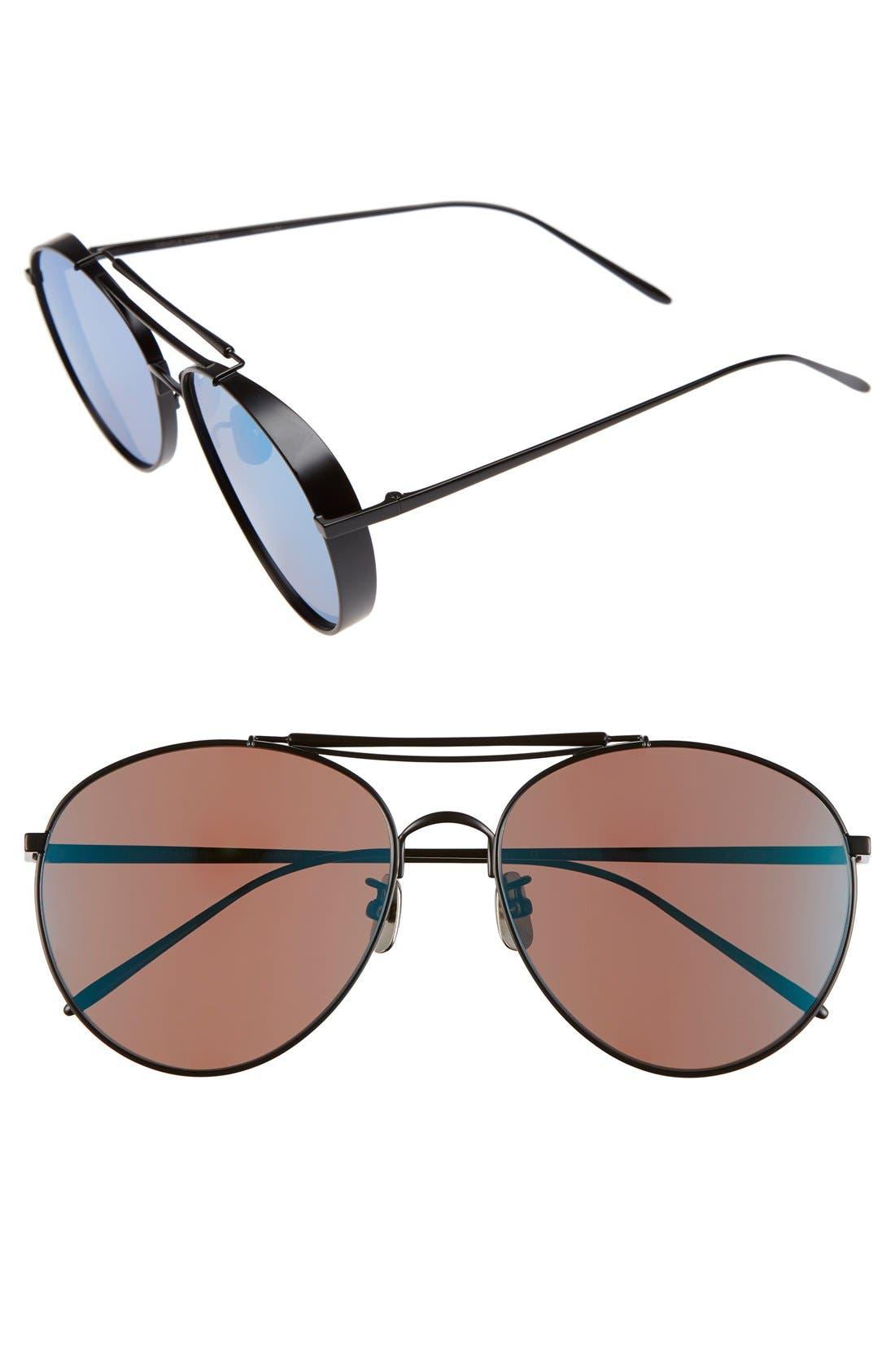 60mm Aviator Sunglasses,                         Main,                         color, Matte Black/ Blue Mirror