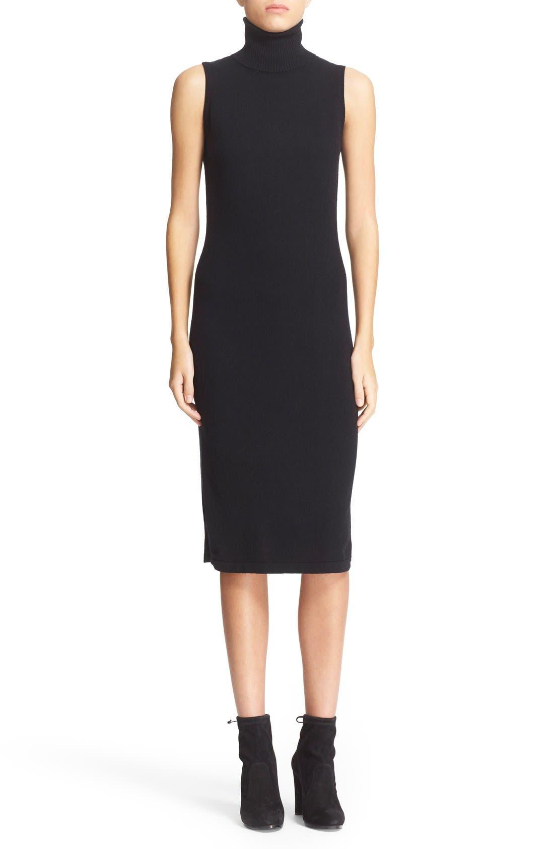 Sleeveless Turtleneck Cashmere Sheath Dress,                             Main thumbnail 1, color,                             Black