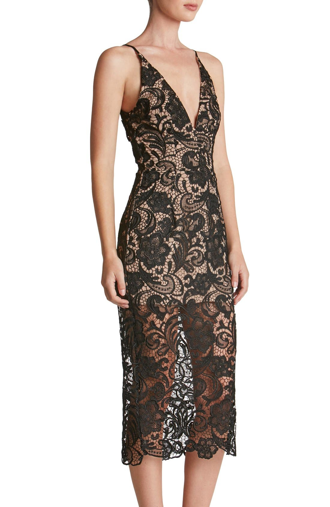 Alternate Image 5  - Dress the Population 'Marie' Lace Midi Dress