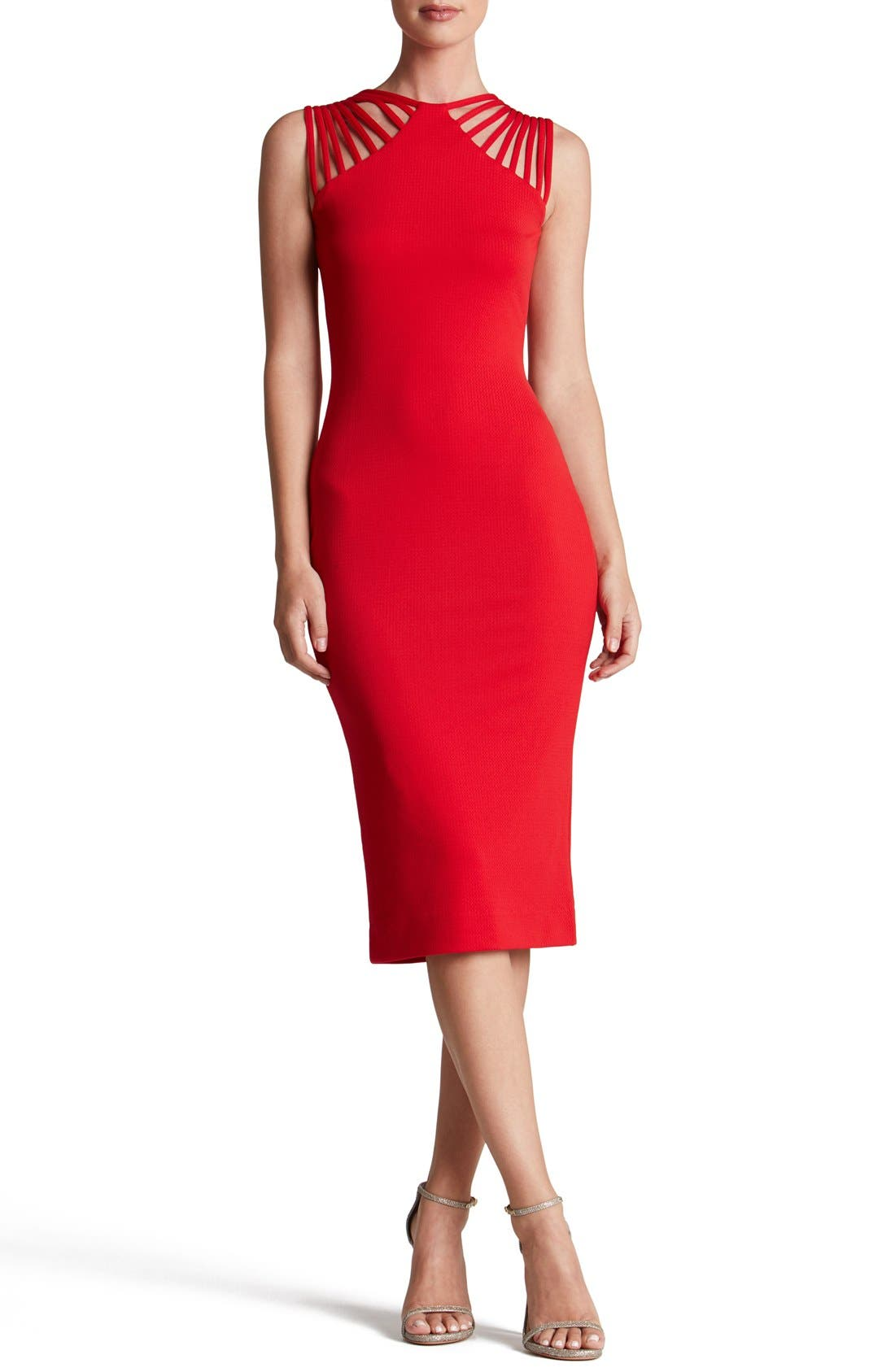 Gwen Midi Dress,                         Main,                         color, Cherry