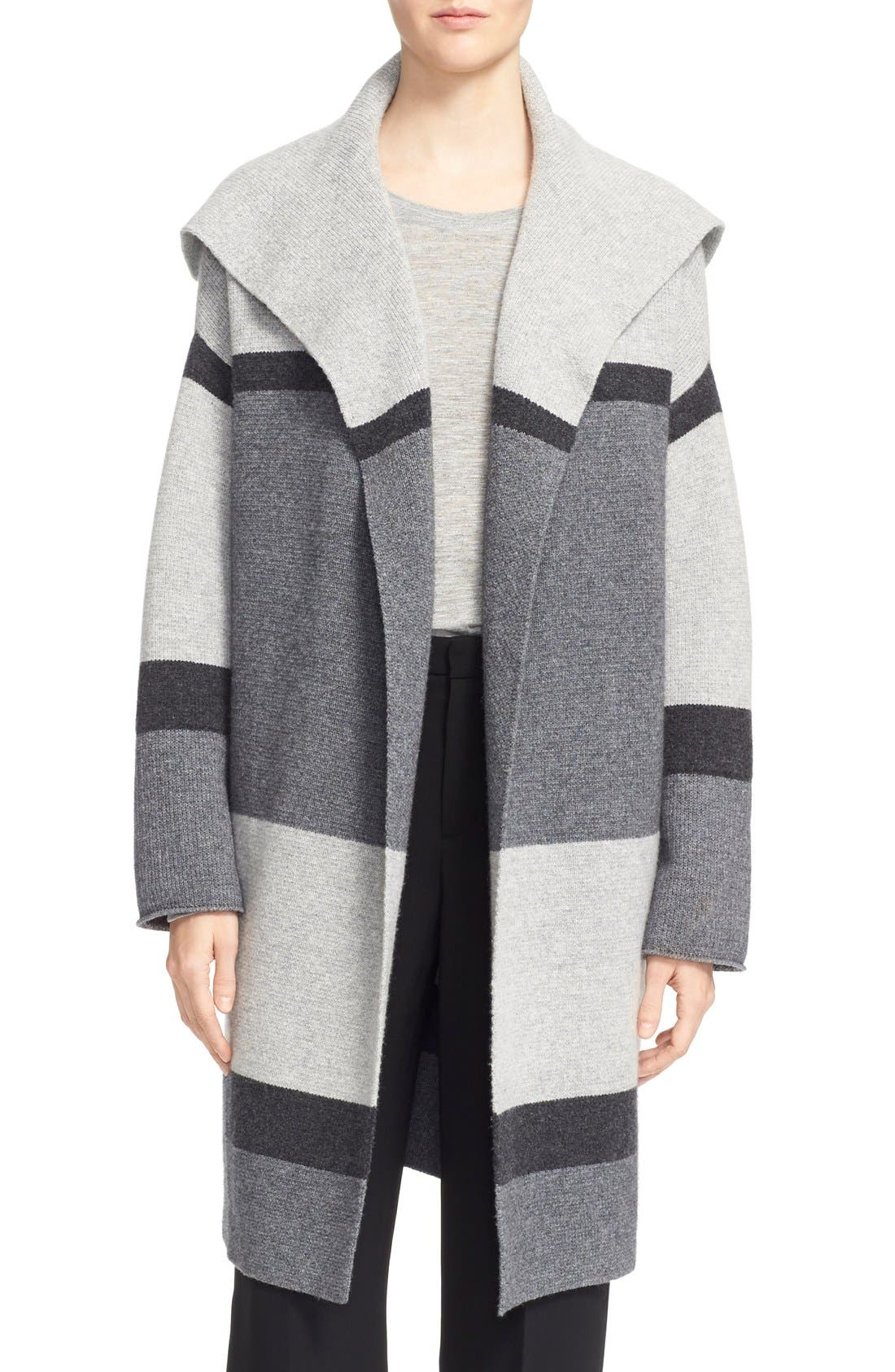 Colorblock Wool & Cashmere Knit Car Coat,                         Main,                         color, Heather Steal/ Stone/ Carbon