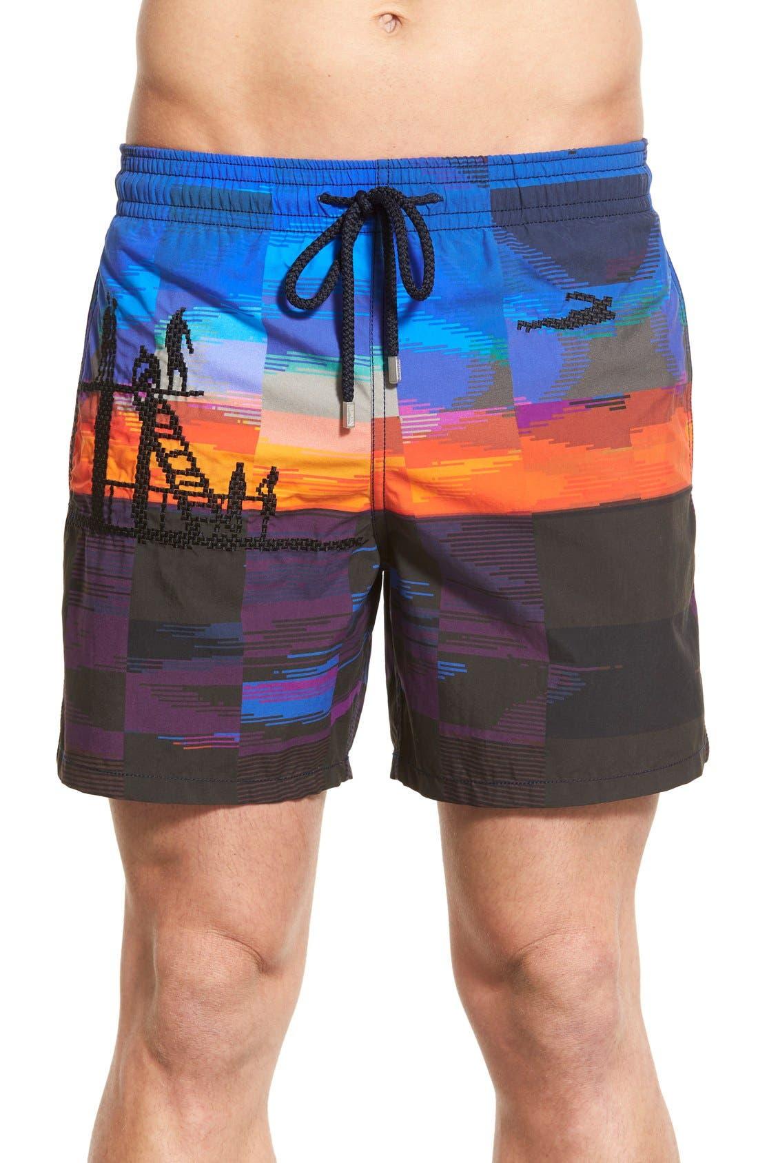 'Motu Tanger' Embroidered Swim Trunks,                         Main,                         color, Black