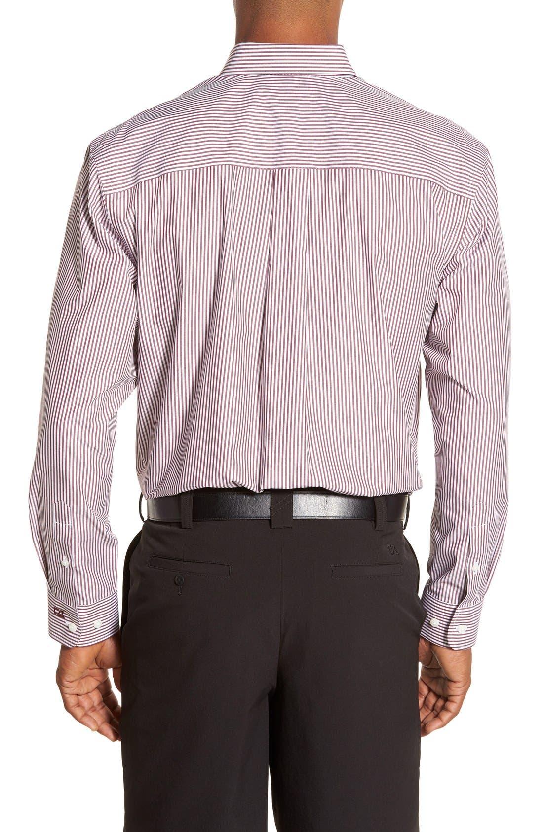 'Epic Easy Care' Regular Fit Mini Bengal Stripe Sport Shirt,                             Alternate thumbnail 2, color,                             Bordeaux