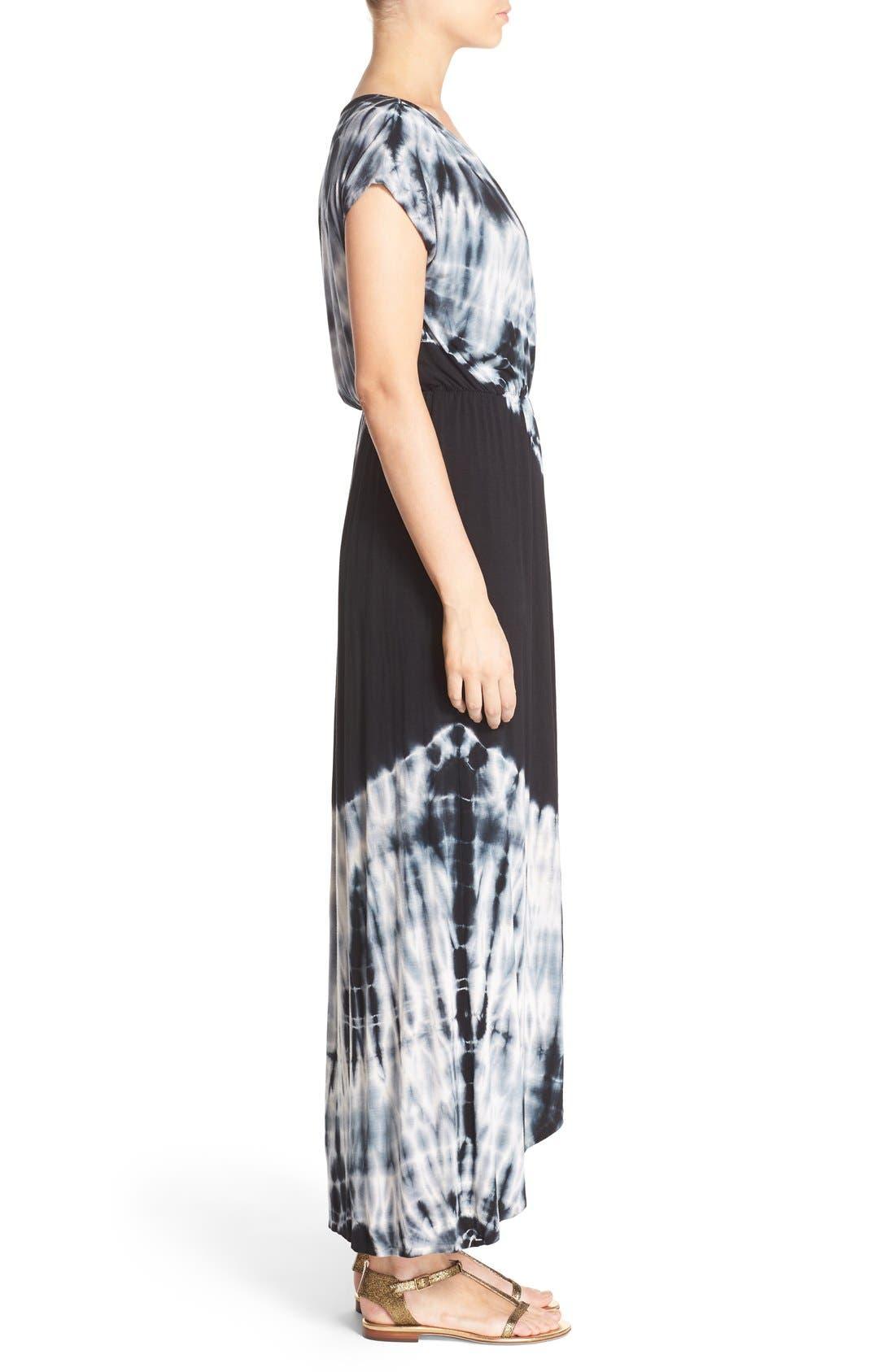 Tie Dye Faux Wrap Maxi Dress,                             Alternate thumbnail 3, color,                             Black