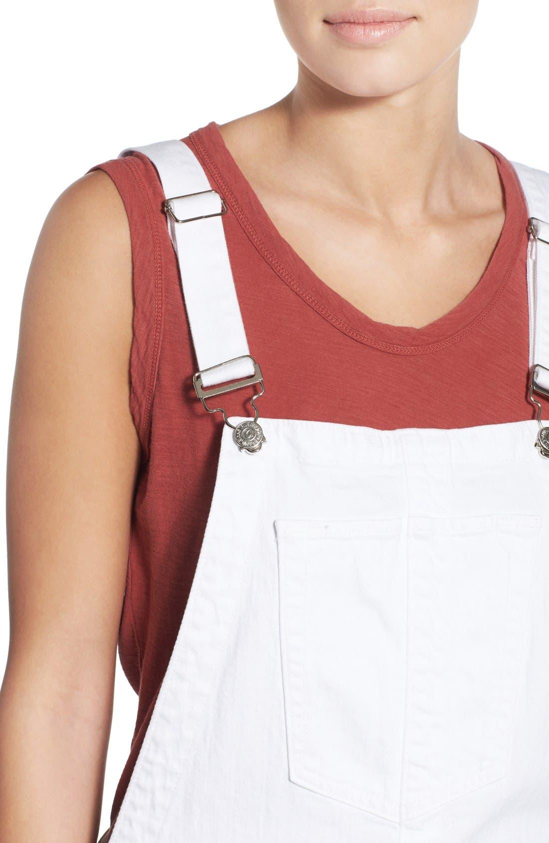 Alternate Image 5  - True Religion Brand Jeans Denim Short Overalls (Optic White)