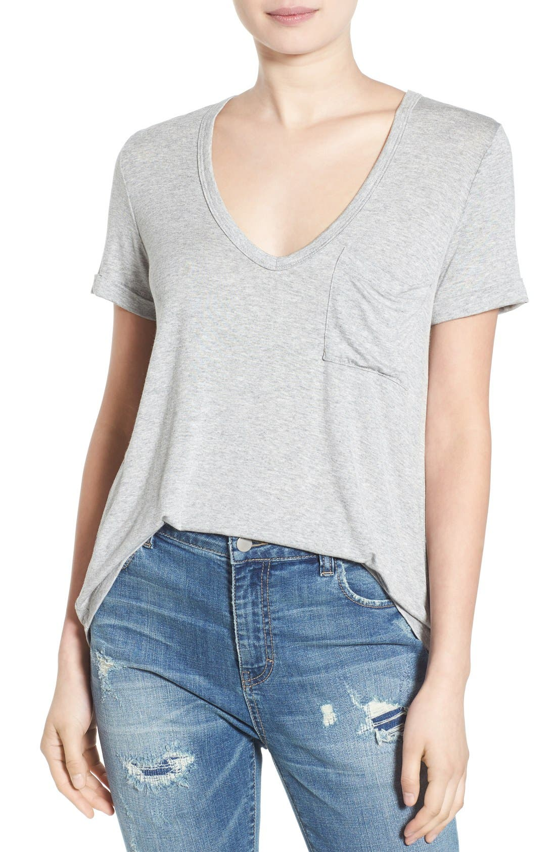 Deep-V Neck Tee,                         Main,                         color, Heather Grey