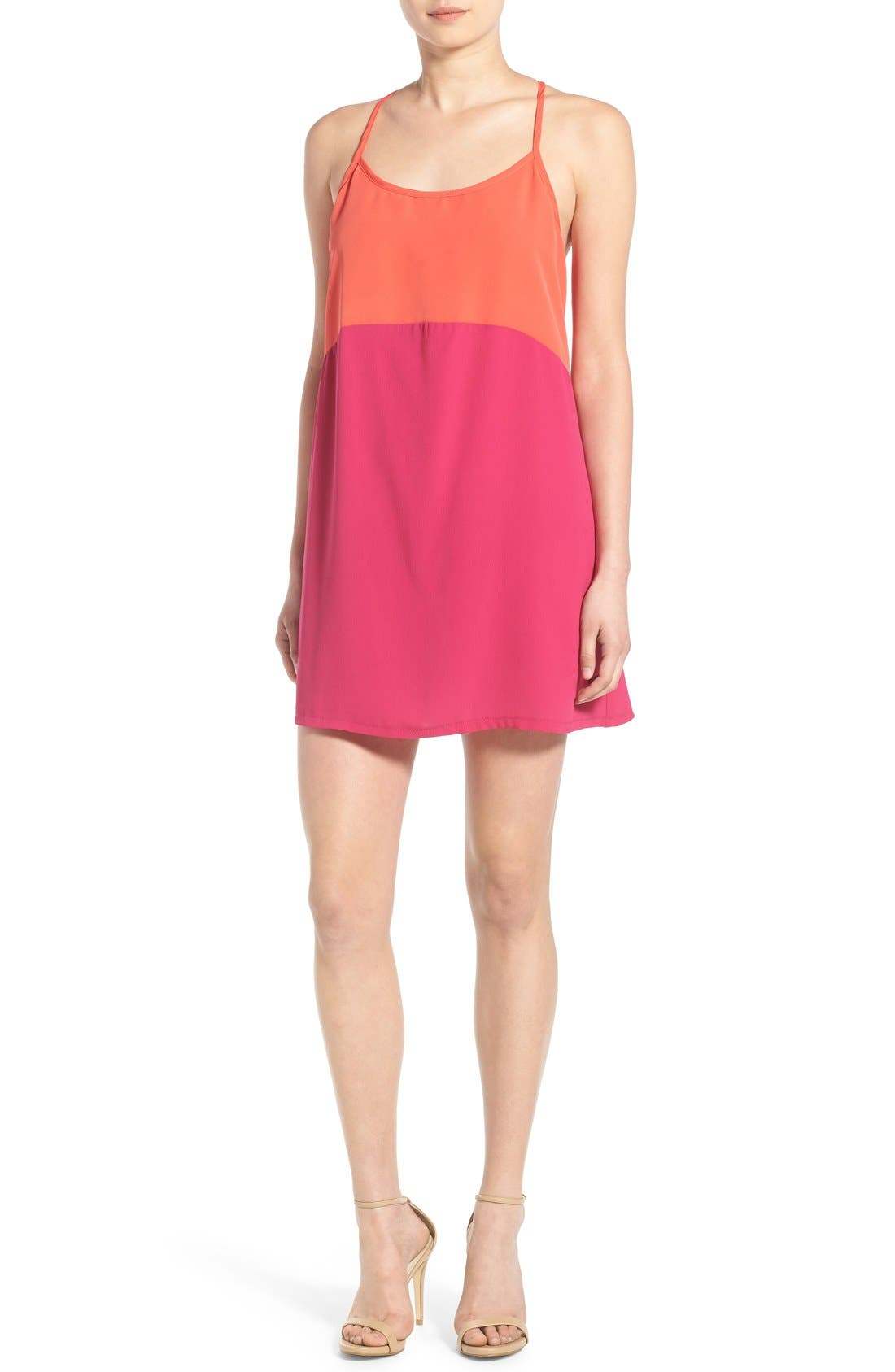 Alternate Image 1 Selected - Mimi Chica Colorblock Racerback Tank Dress