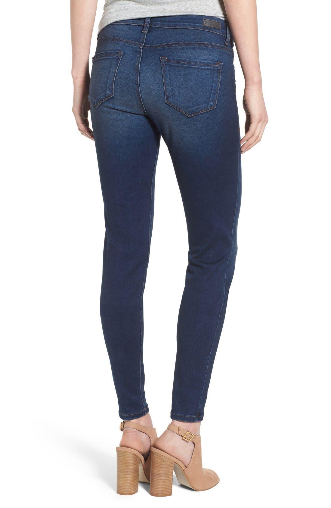 'Piper' Skinny Jeans,                             Alternate thumbnail 4, color,                             Royal Beach