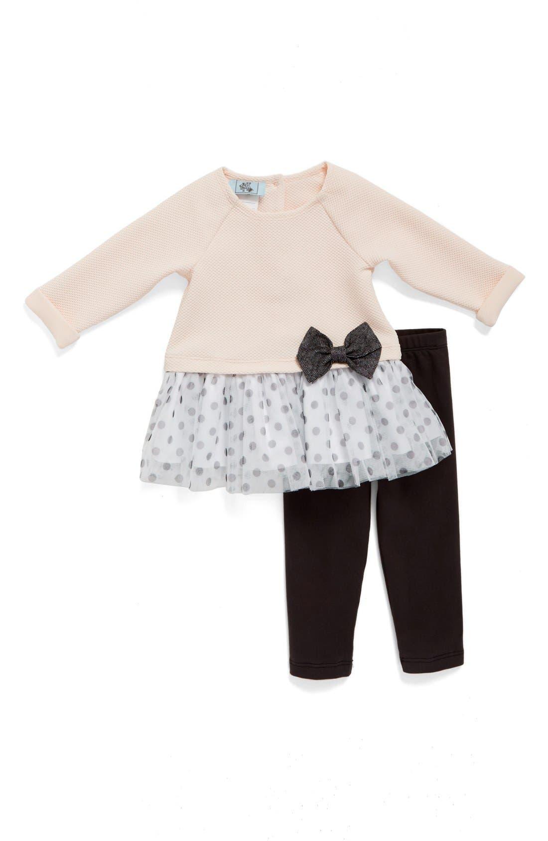 Main Image - Pippa & Julie Polka Dot Tulle Hem Top & Leggings Set (Baby Girls)