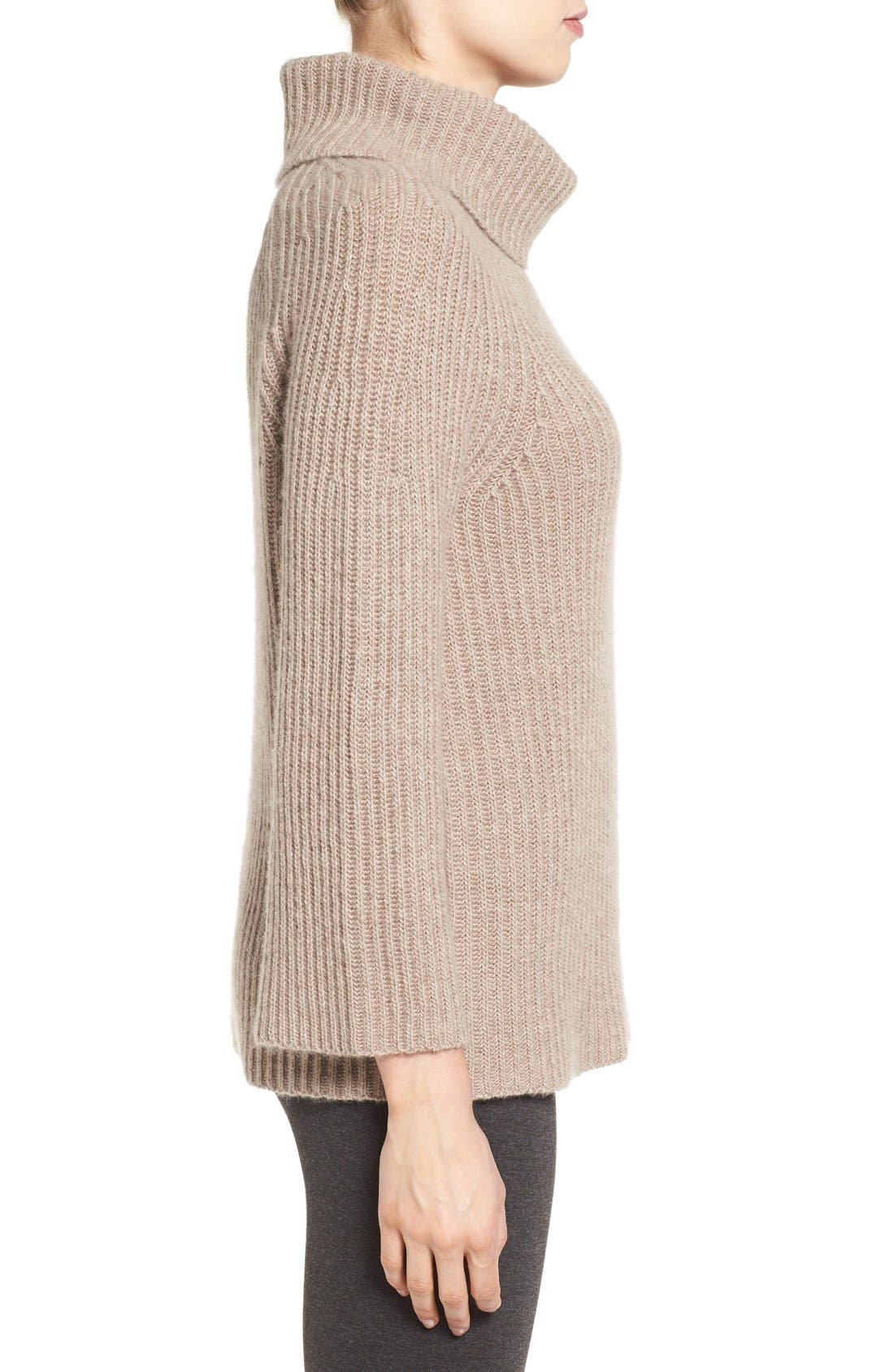 Alternate Image 4  - Halogen® Ribbed Cashmere Turtleneck Sweater (Regular & Petite)
