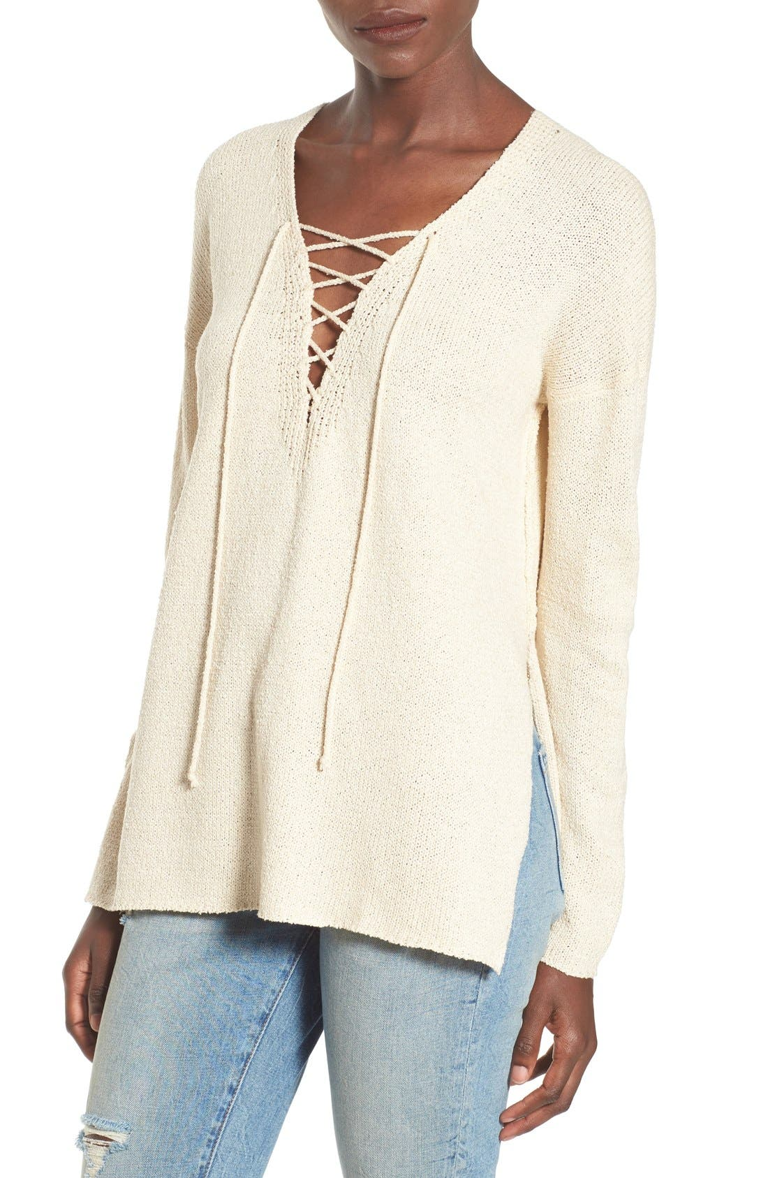ASTR Lace-Up Sweater,                         Main,                         color, Ivory
