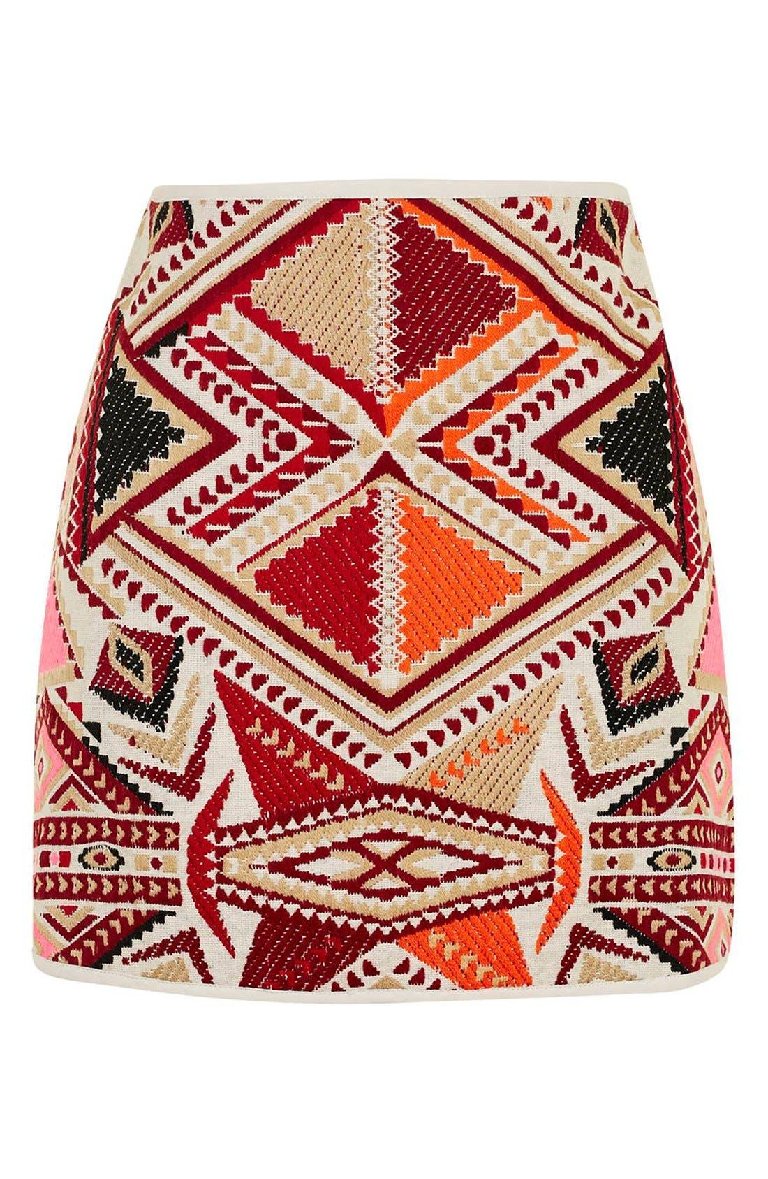 Alternate Image 5  - Topshop 'Desert Traveller' Jacquard Miniskirt