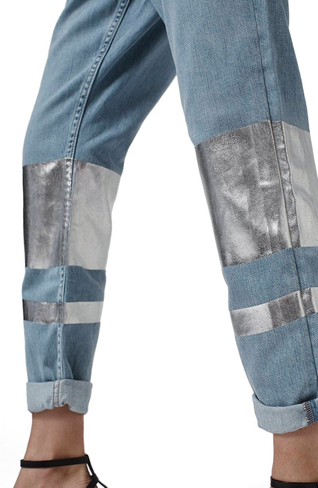 Alternate Image 5  - Topshop 'Hayden' Silver Stripe Boyfriend Jeans (Petite)