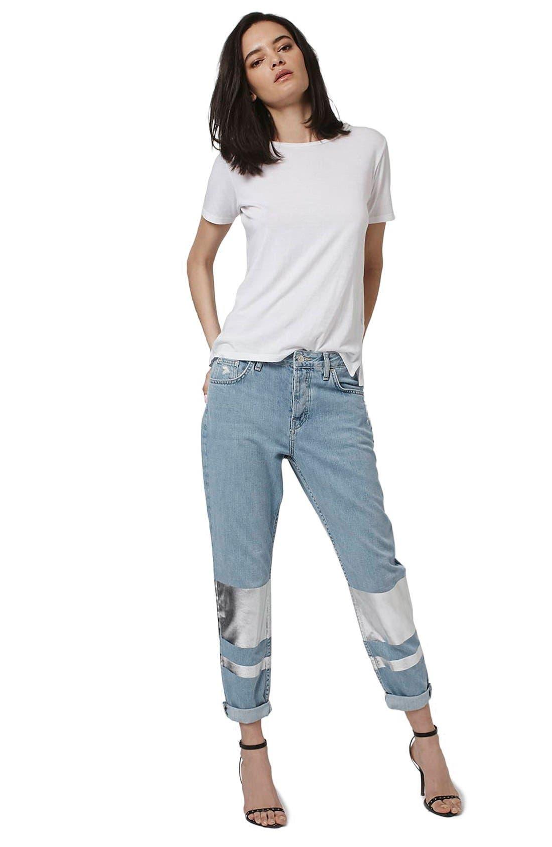 Alternate Image 2  - Topshop 'Hayden' Silver Stripe Boyfriend Jeans (Petite)