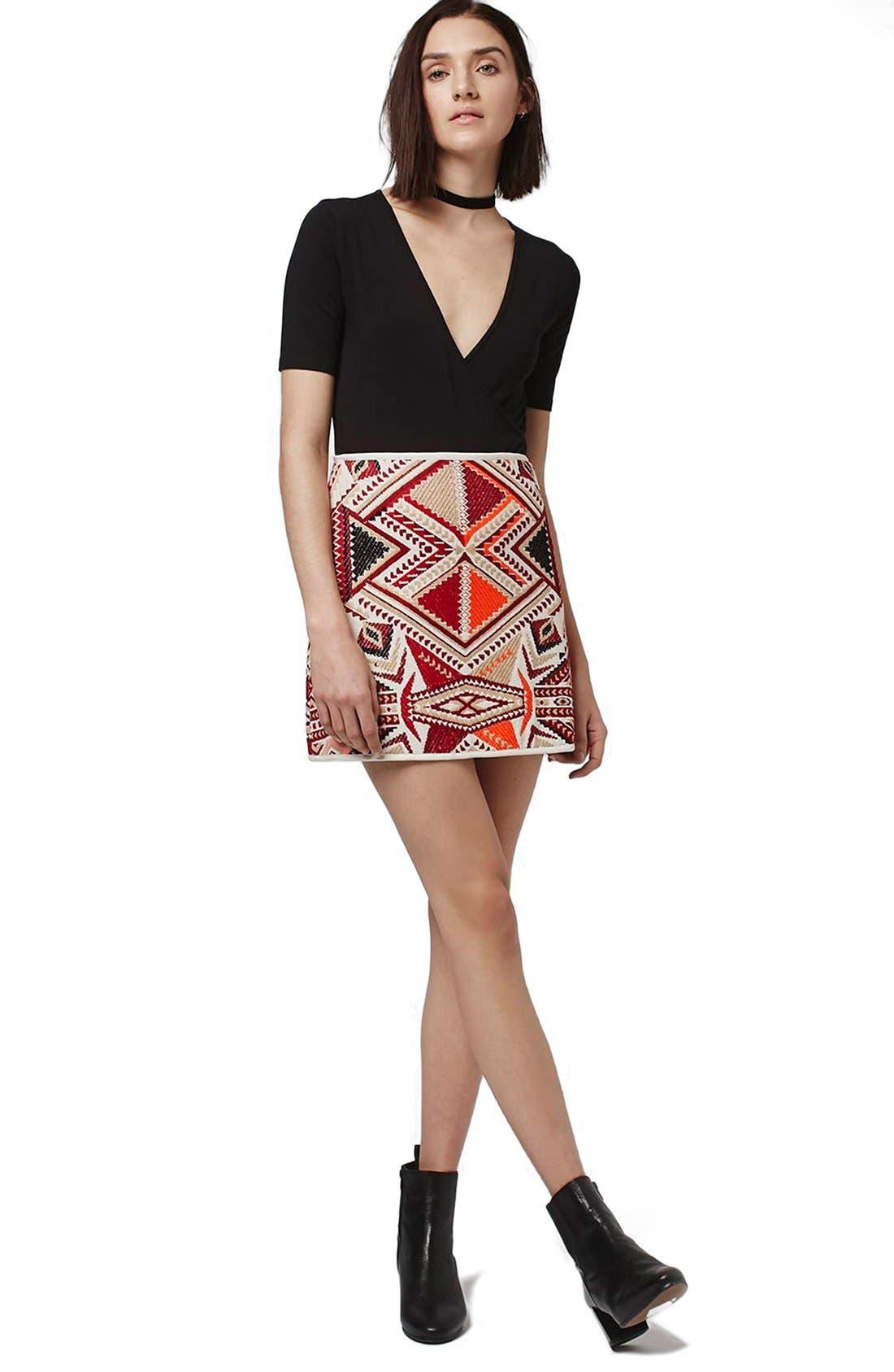 Alternate Image 4  - Topshop 'Desert Traveller' Jacquard Miniskirt