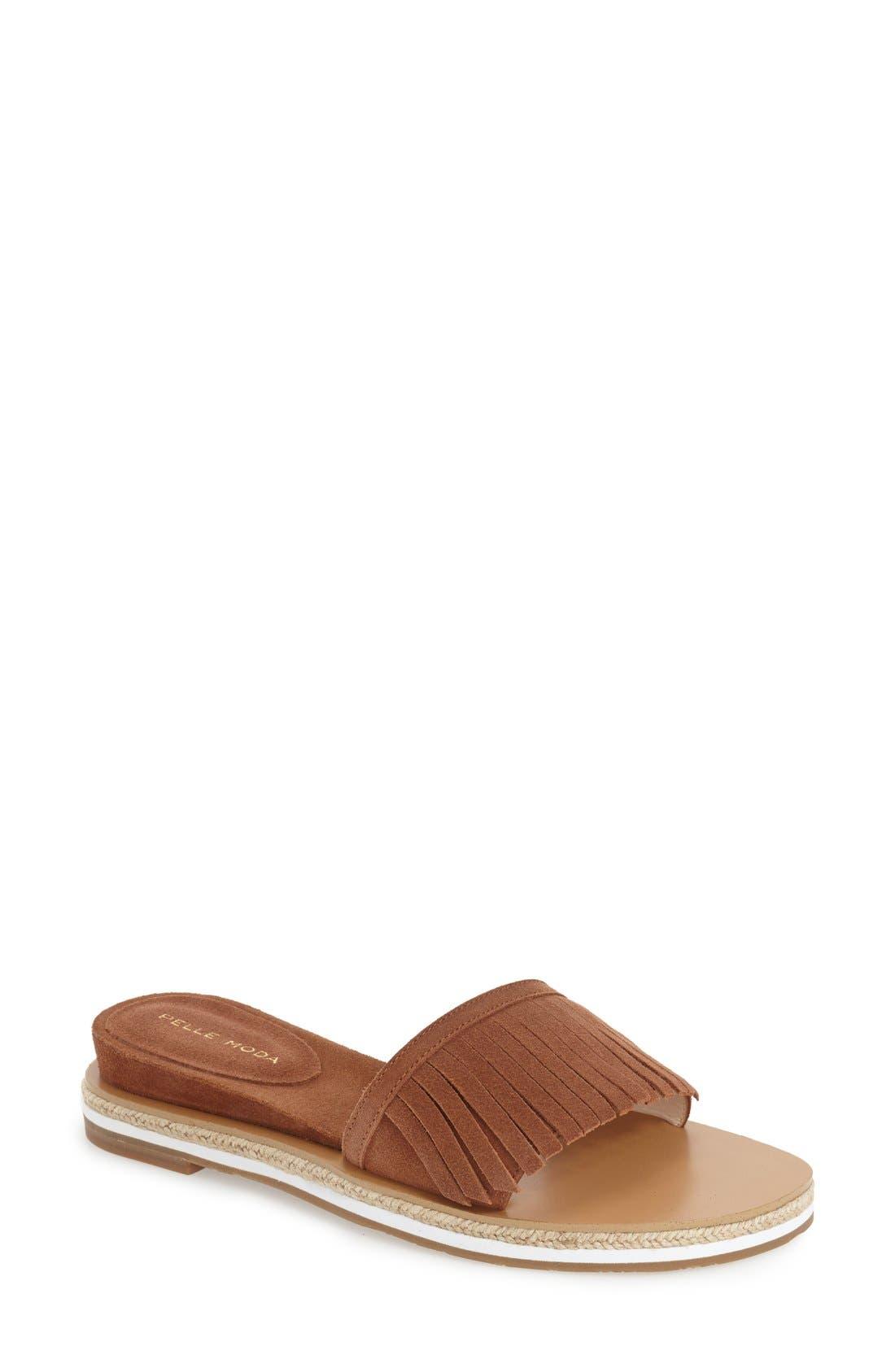 Pelle Moda 'Jade' Fringe Slide Sandal (Women)