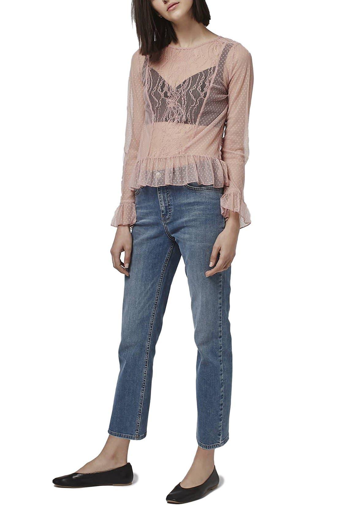 Alternate Image 4  - Topshop Sheer Lace Ruffle Hem Top