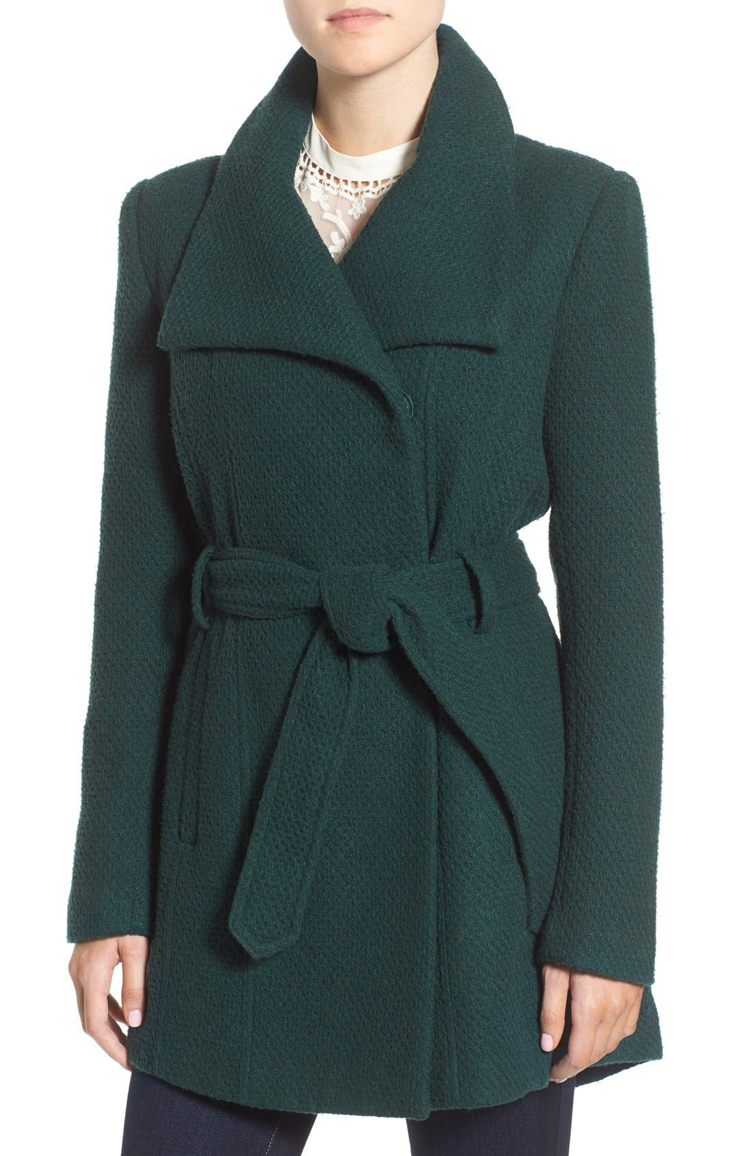 Belted Waffle Woven Coat,                         Main,                         color, Kelly Green
