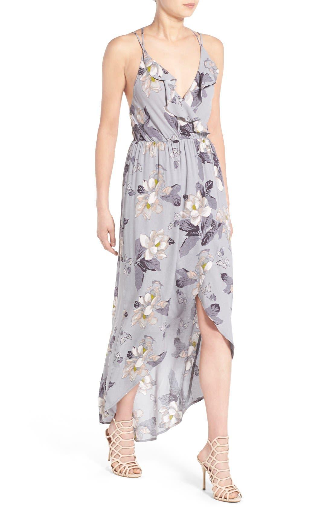 ASTR Ruffle Surplice High/Low Maxi Dress,                             Alternate thumbnail 4, color,                             Grey Multi Floral