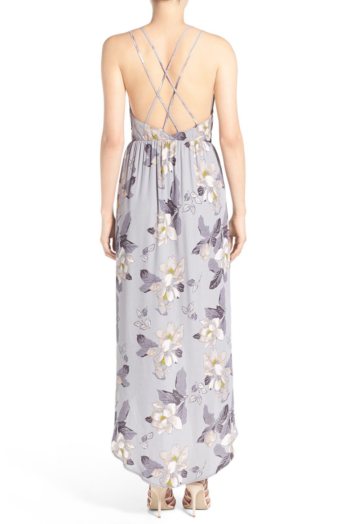 ASTR Ruffle Surplice High/Low Maxi Dress,                             Alternate thumbnail 2, color,                             Grey Multi Floral