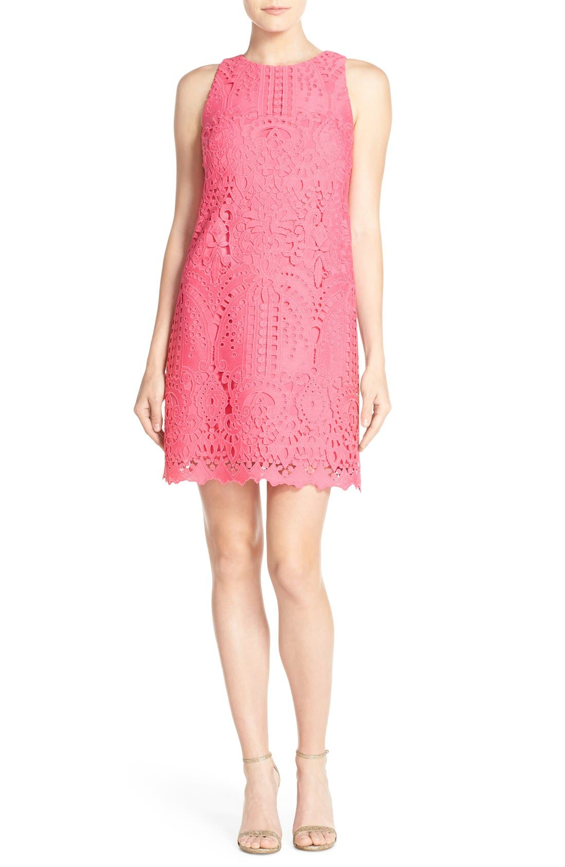 Lace Shift Dress,                             Alternate thumbnail 4, color,                             Pink
