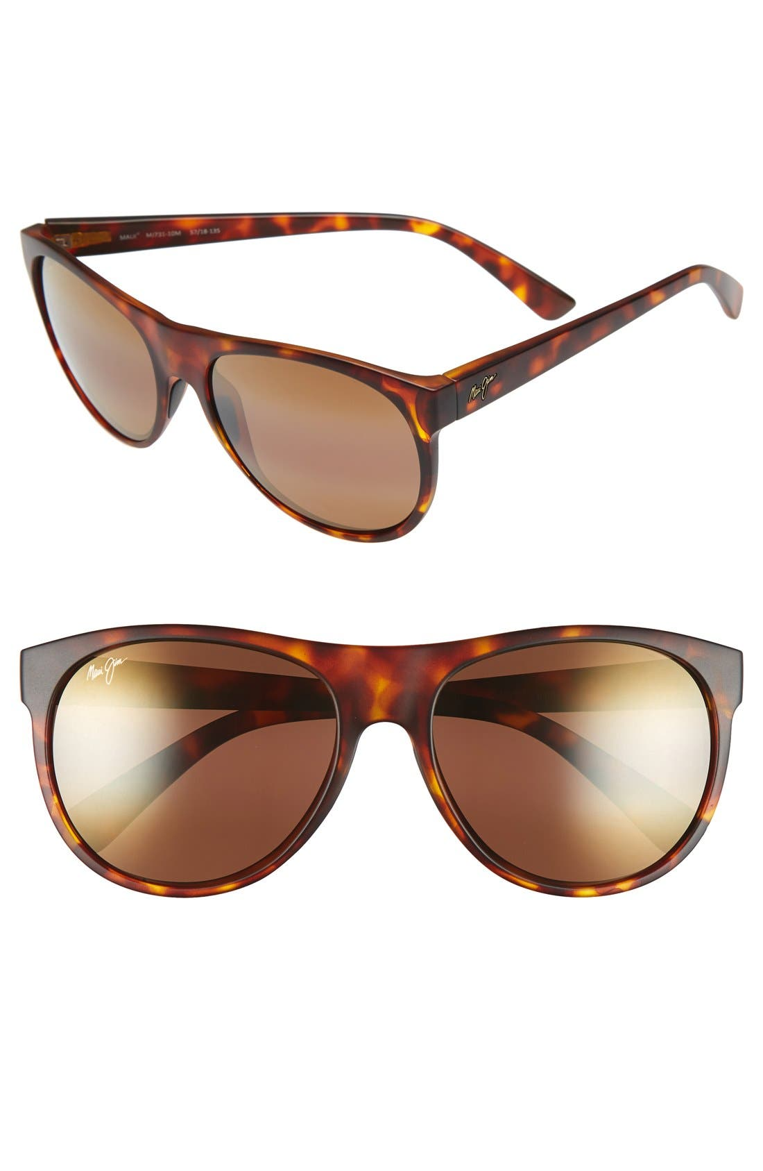 Rising Sun 57mm PolarizedPlus2<sup>®</sup> Sunglasses,                         Main,                         color, Matte Tortoise/ Hcl Bronze