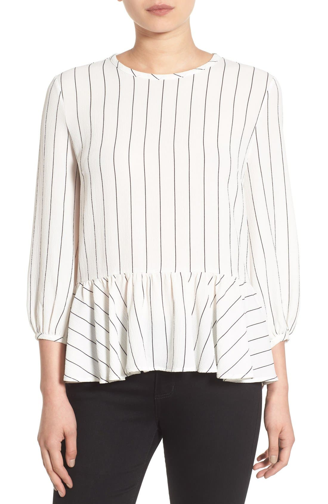 Stripe Ruffle Hem Shirt,                             Main thumbnail 1, color,                             Ivory Jules Stripe