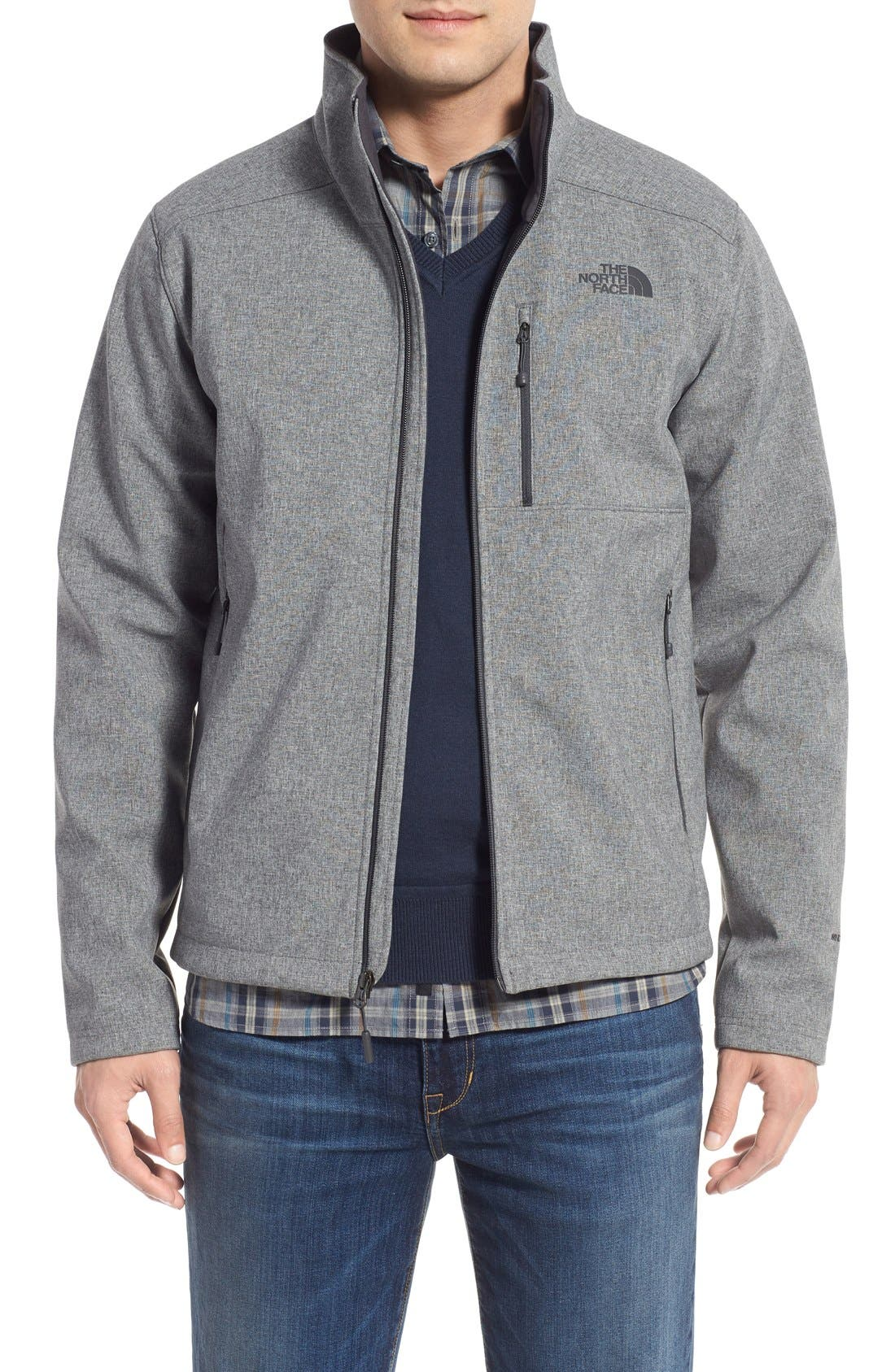 'Apex Bionic 2' Windproof & Water Resistant Soft Shell Jacket,                             Main thumbnail 1, color,                             Tnf Medium Grey Heather