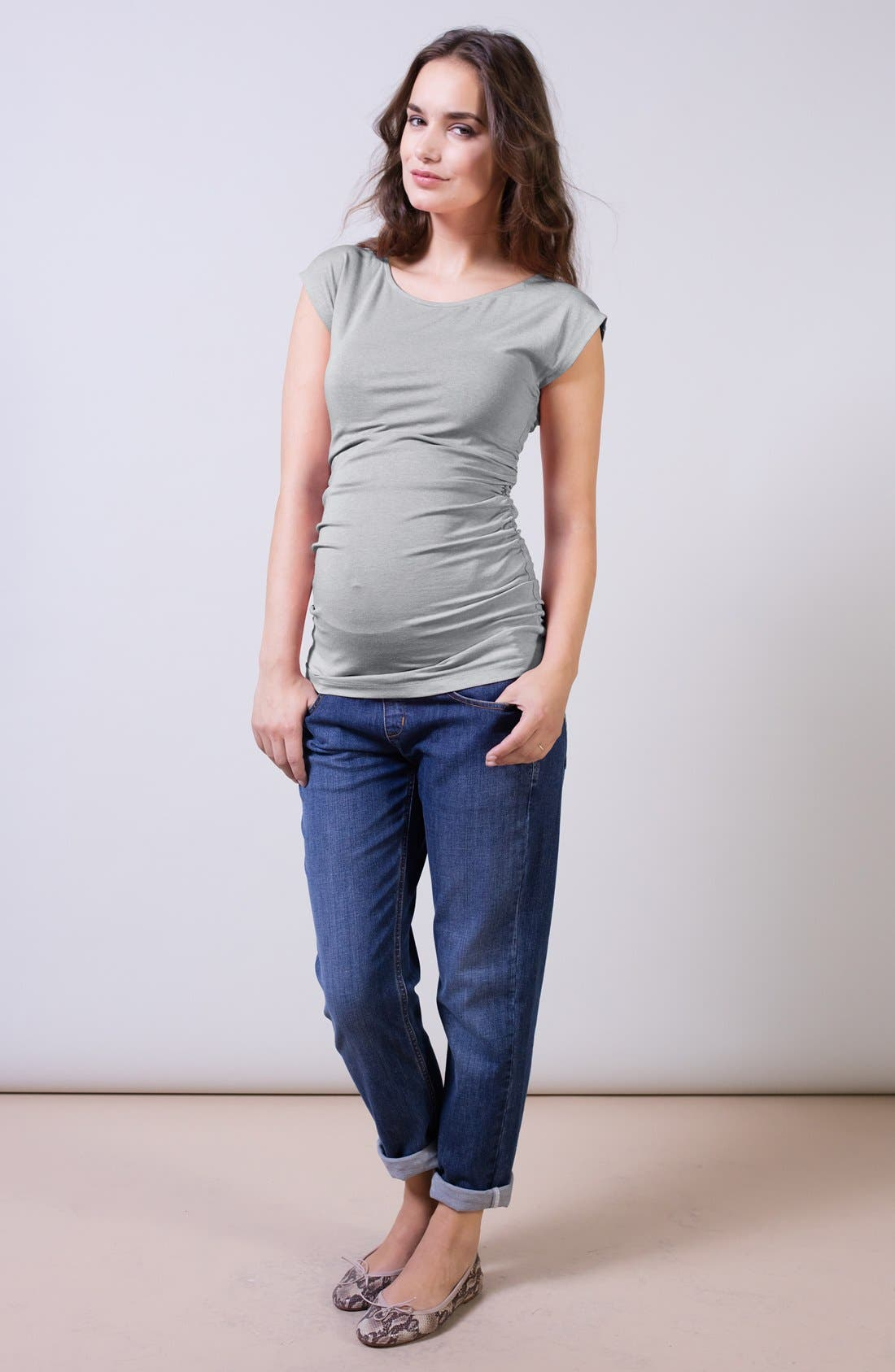 Relaxed Maternity Jeans,                             Alternate thumbnail 2, color,                             Washed Indigo