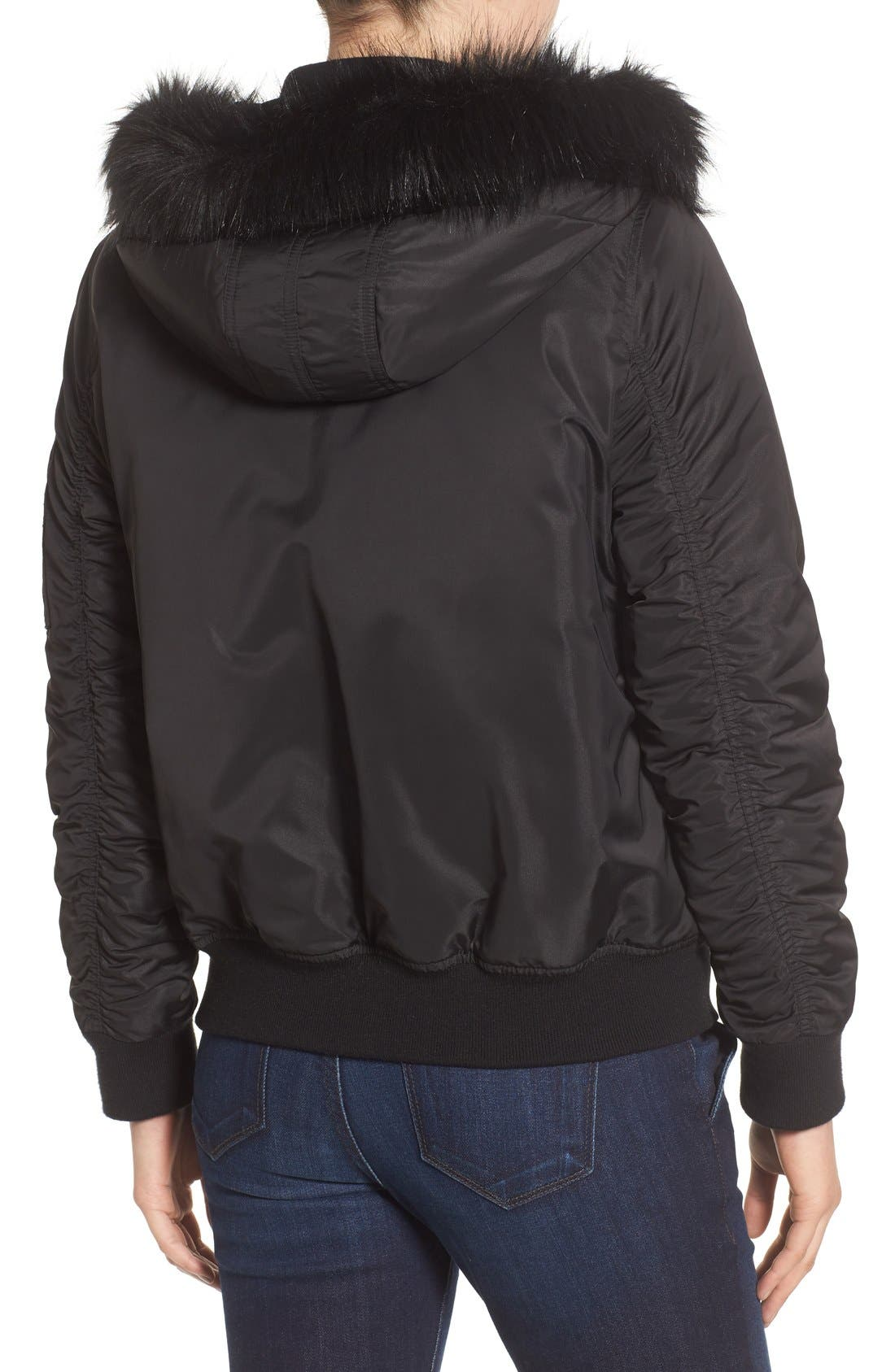 'Varsity' Hooded Bomber Jacket with Faux Fur Trim,                             Alternate thumbnail 2, color,                             Black