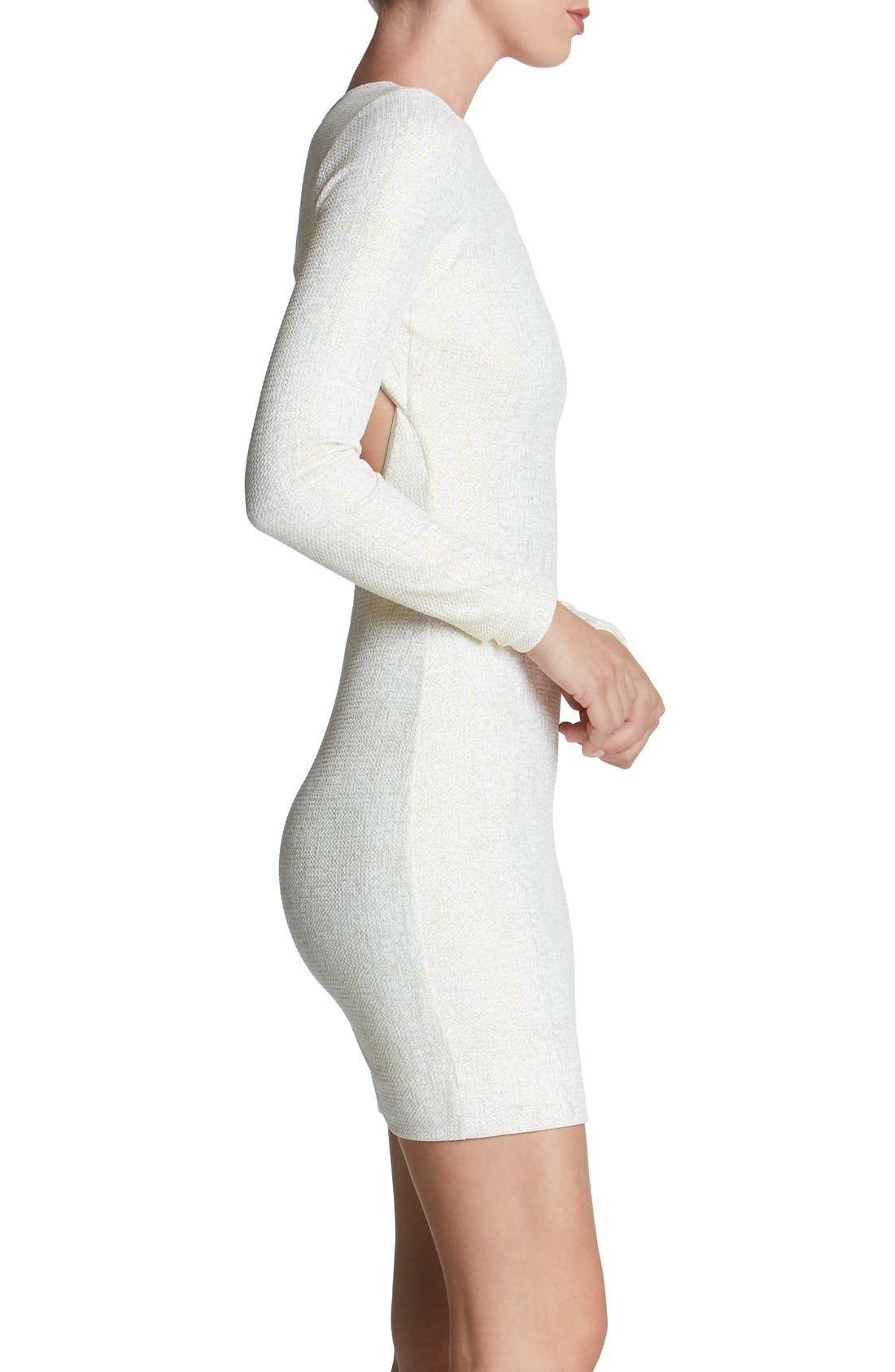 Tori Body-Con Dress,                             Alternate thumbnail 3, color,                             Ivory/ Gold