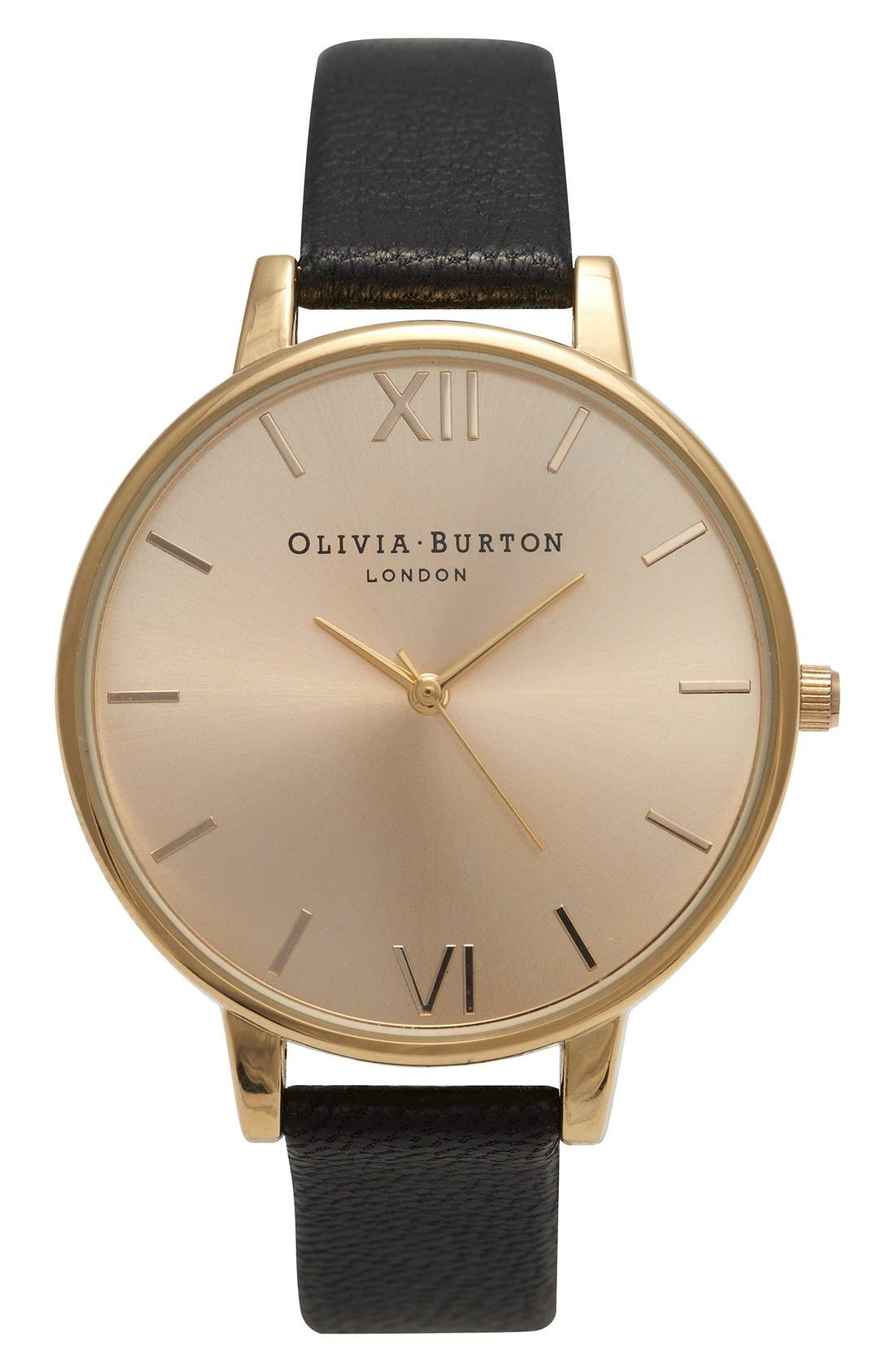 Main Image - Olivia Burton Big Dial Leather Strap Watch, 38mm