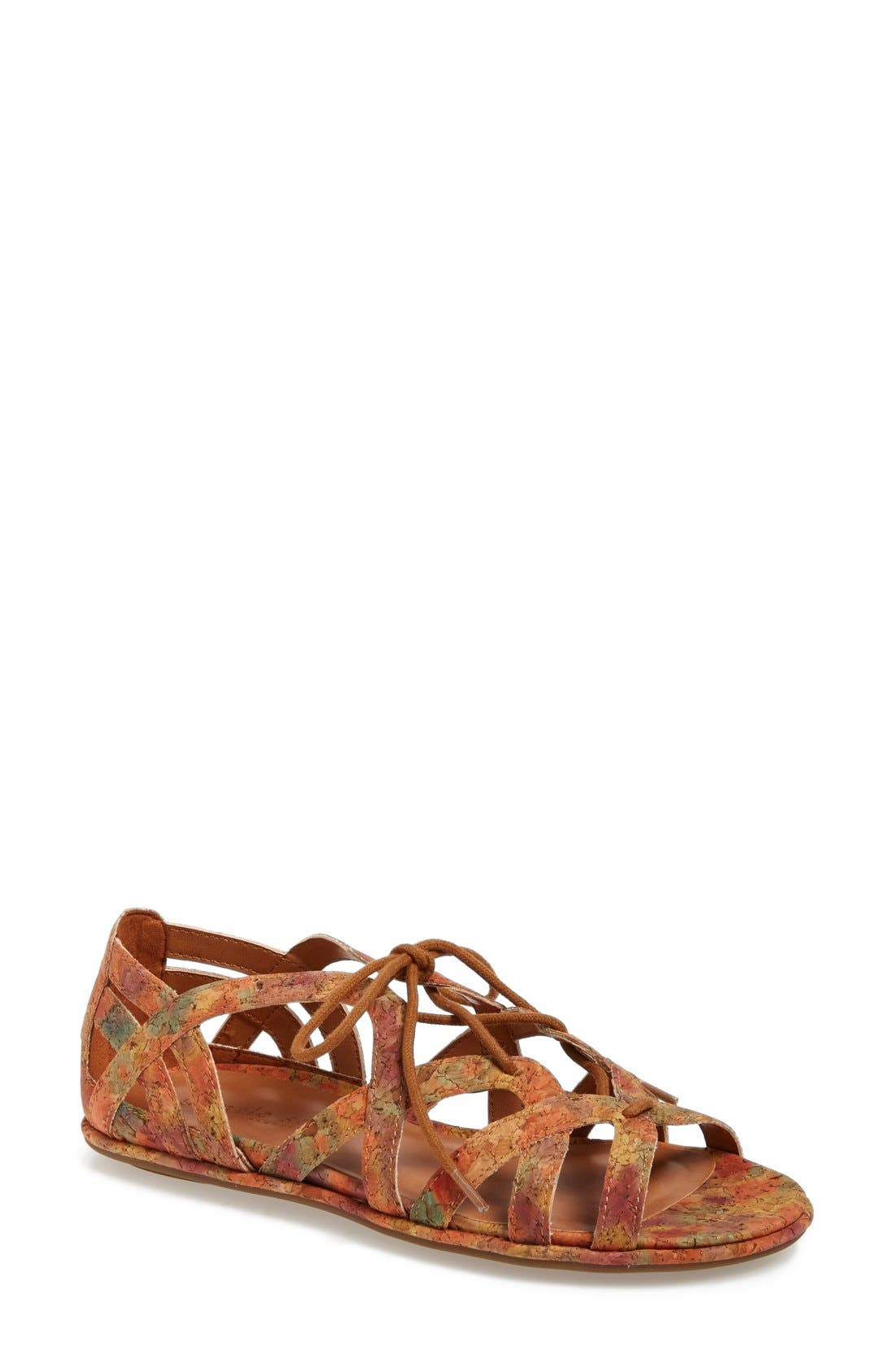 'Orly' Lace-Up Sandal,                             Main thumbnail 1, color,                             Natural/ Floral Cork