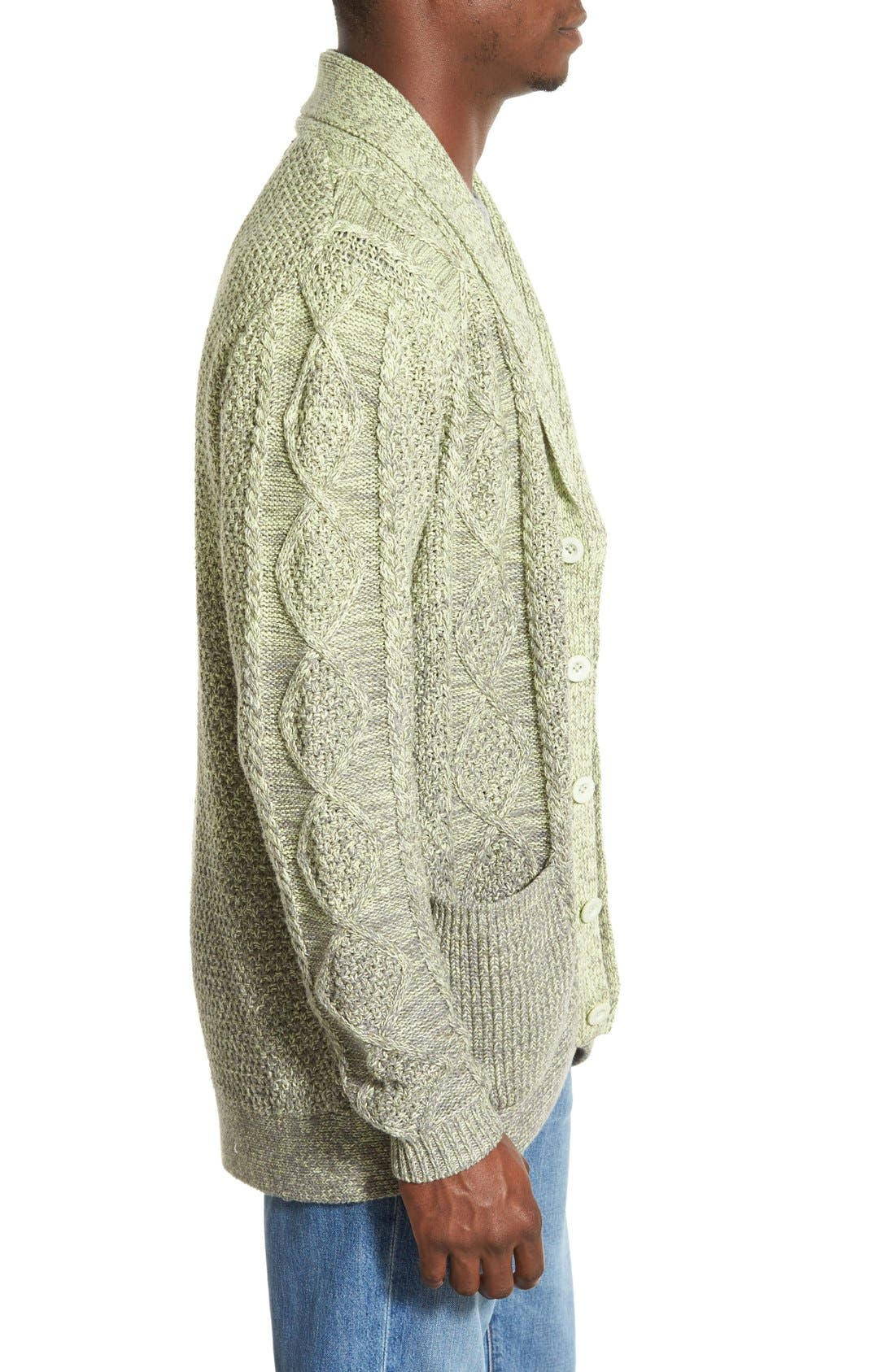 'Boston' Colorblock Mixed Knit Shawl Collar Cardigan,                             Alternate thumbnail 3, color,                             Olive