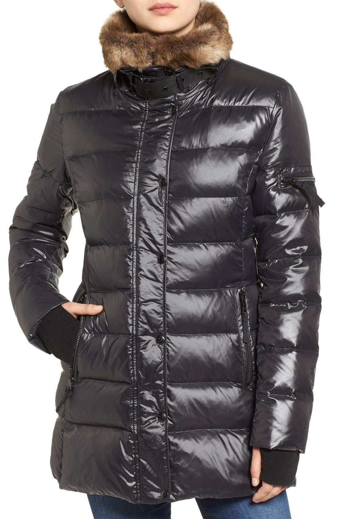 'Chelsea' Gloss Down Jacket with Removable Hood and Faux Fur Trim,                             Alternate thumbnail 4, color,                             Jet