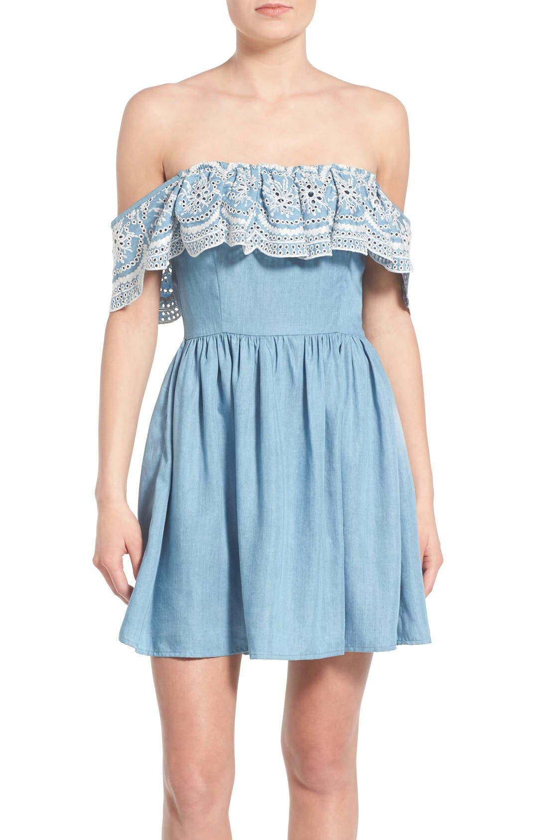 Main Image - Lovers + Friends 'Dream Vacay' Off the Shoulder Fit & Flare Dress