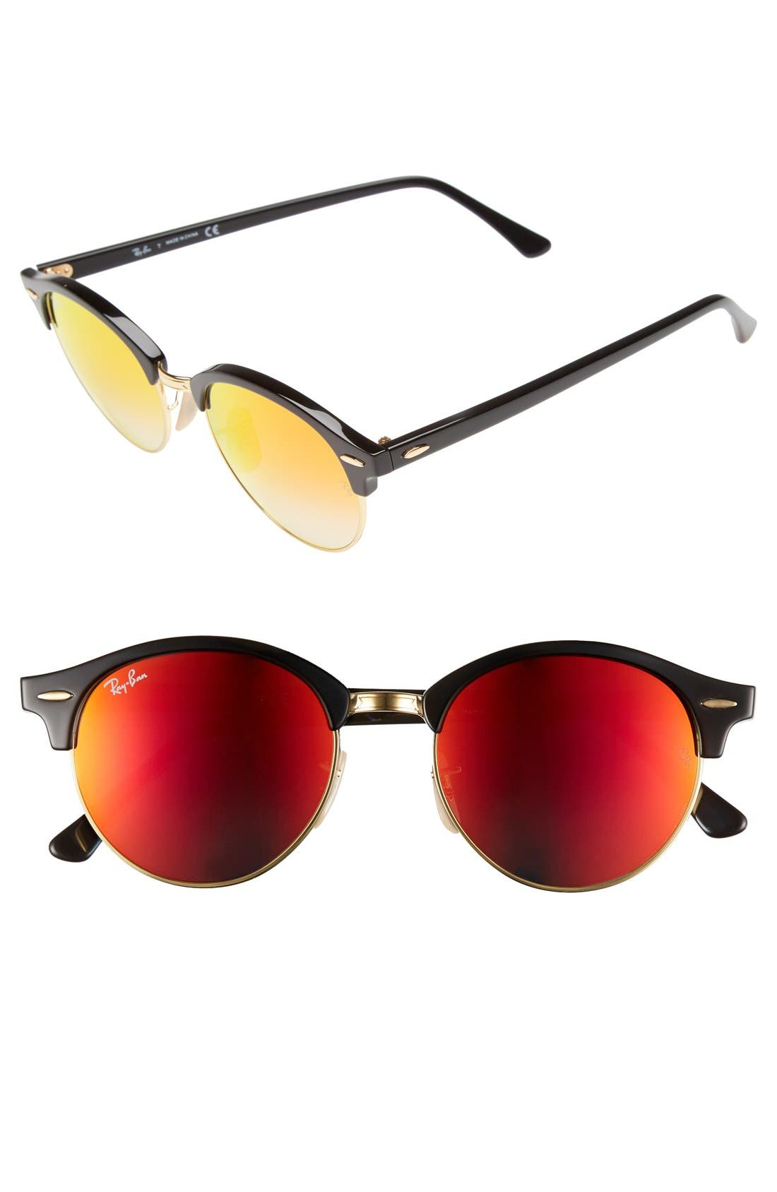 'Clubround' 51mm Sunglasses,                         Main,                         color, Black/ Red