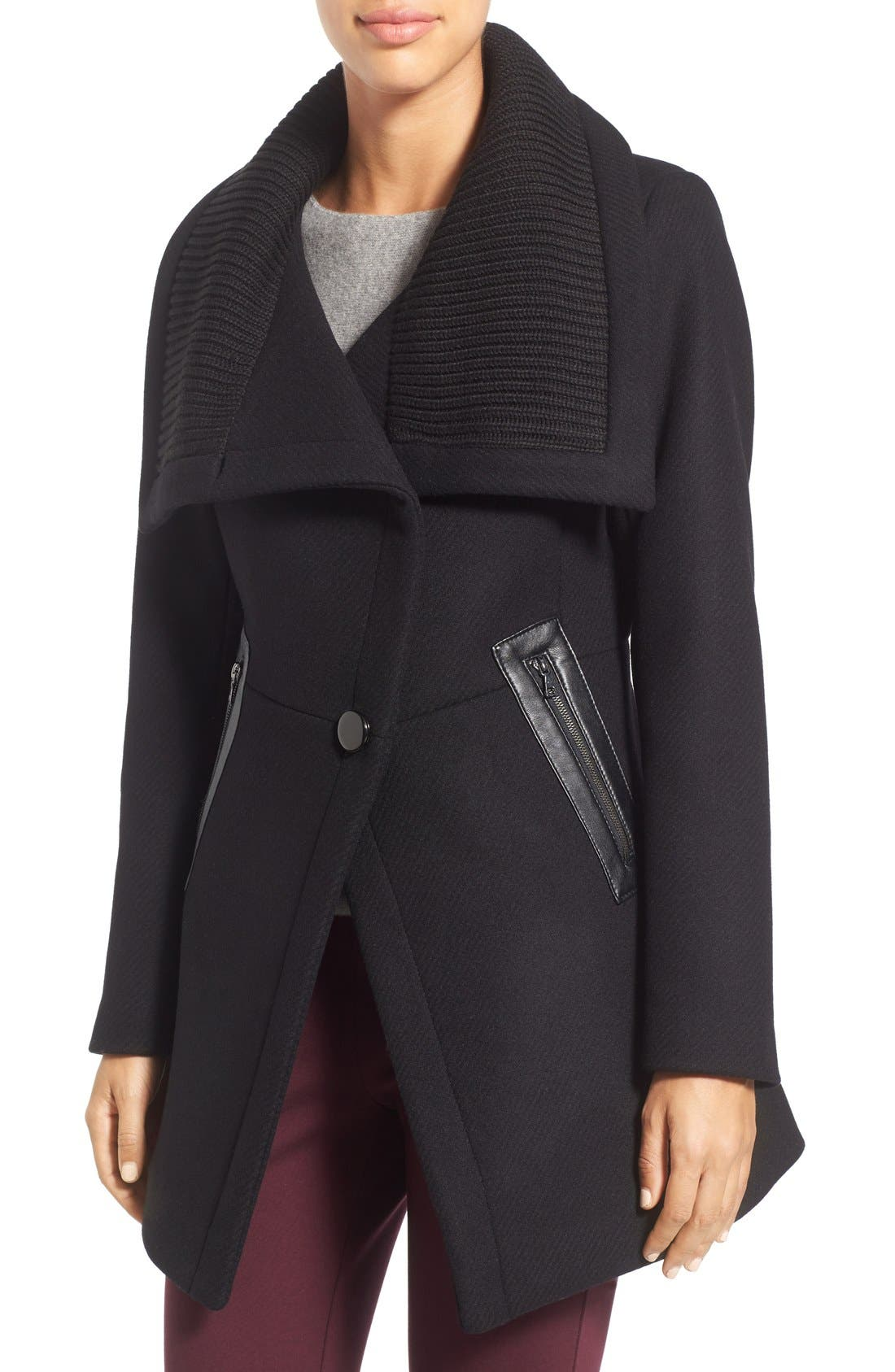 'Maddi' Knit Collar Cutaway Wool Blend Coat,                         Main,                         color, Black