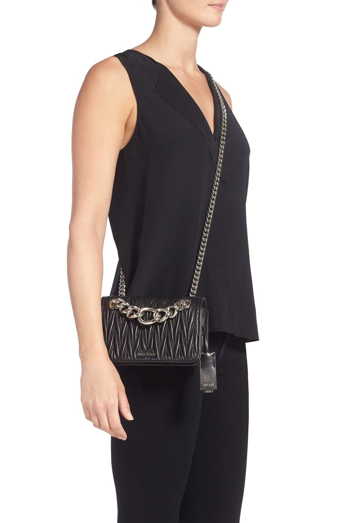 Small Matelassé Leather Shoulder Bag,                             Alternate thumbnail 2, color,                             Nero