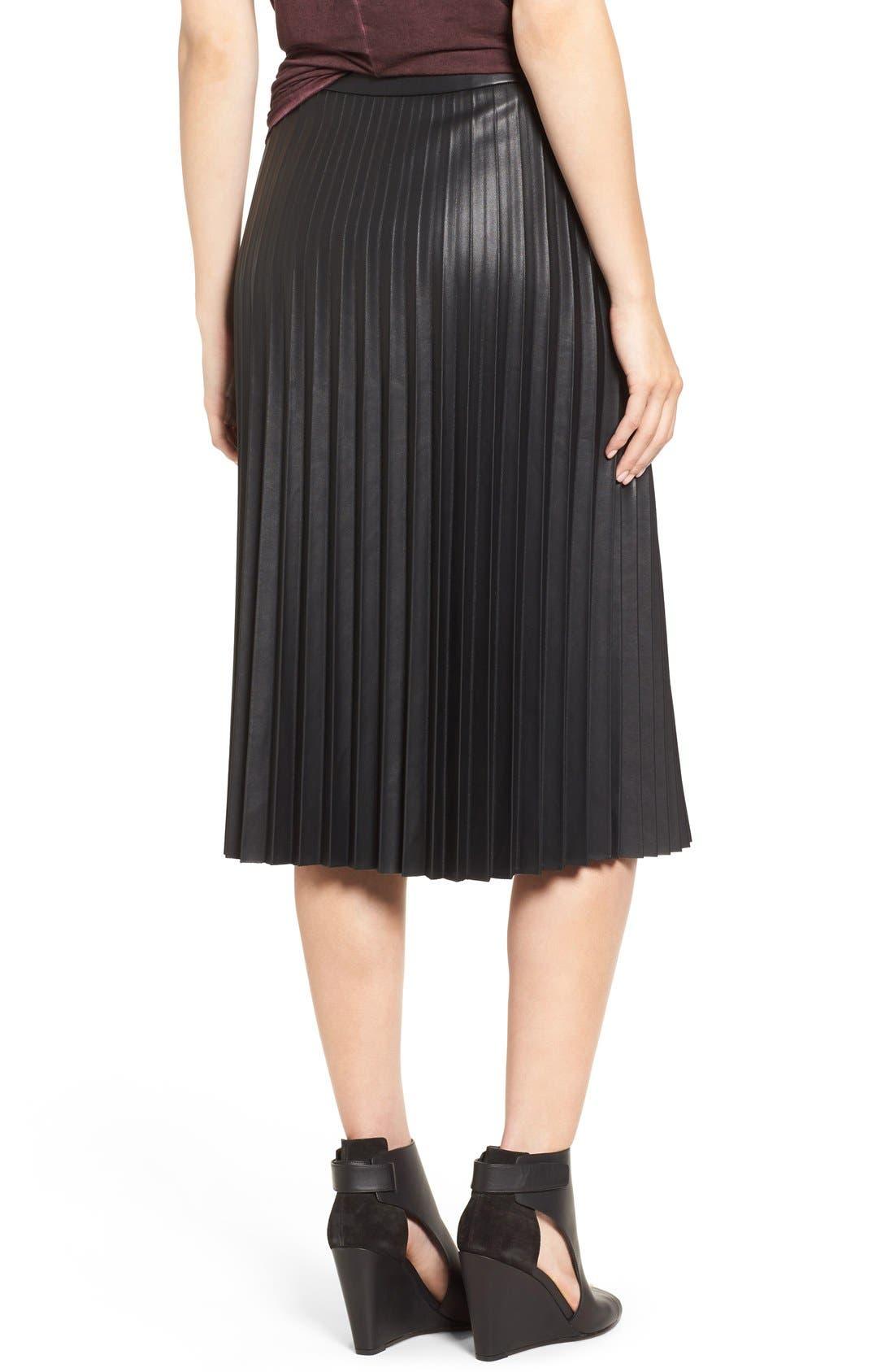 Faux Leather Pleat Skirt,                             Alternate thumbnail 2, color,                             Black