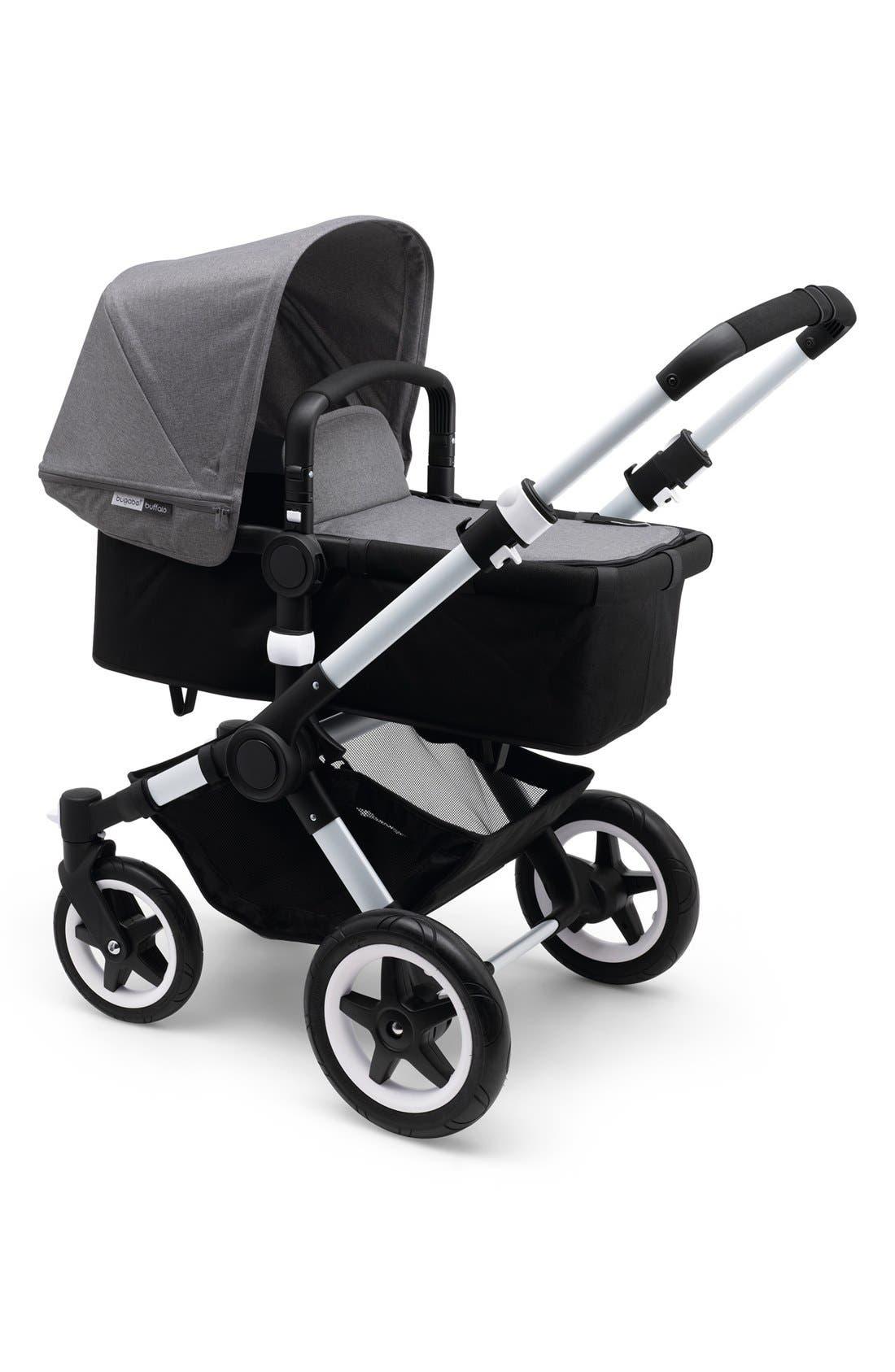 'Buffalo' Stroller Tailored Fabric Set with Extendable Sun Canopy,                             Main thumbnail 1, color,                             Grey Melange