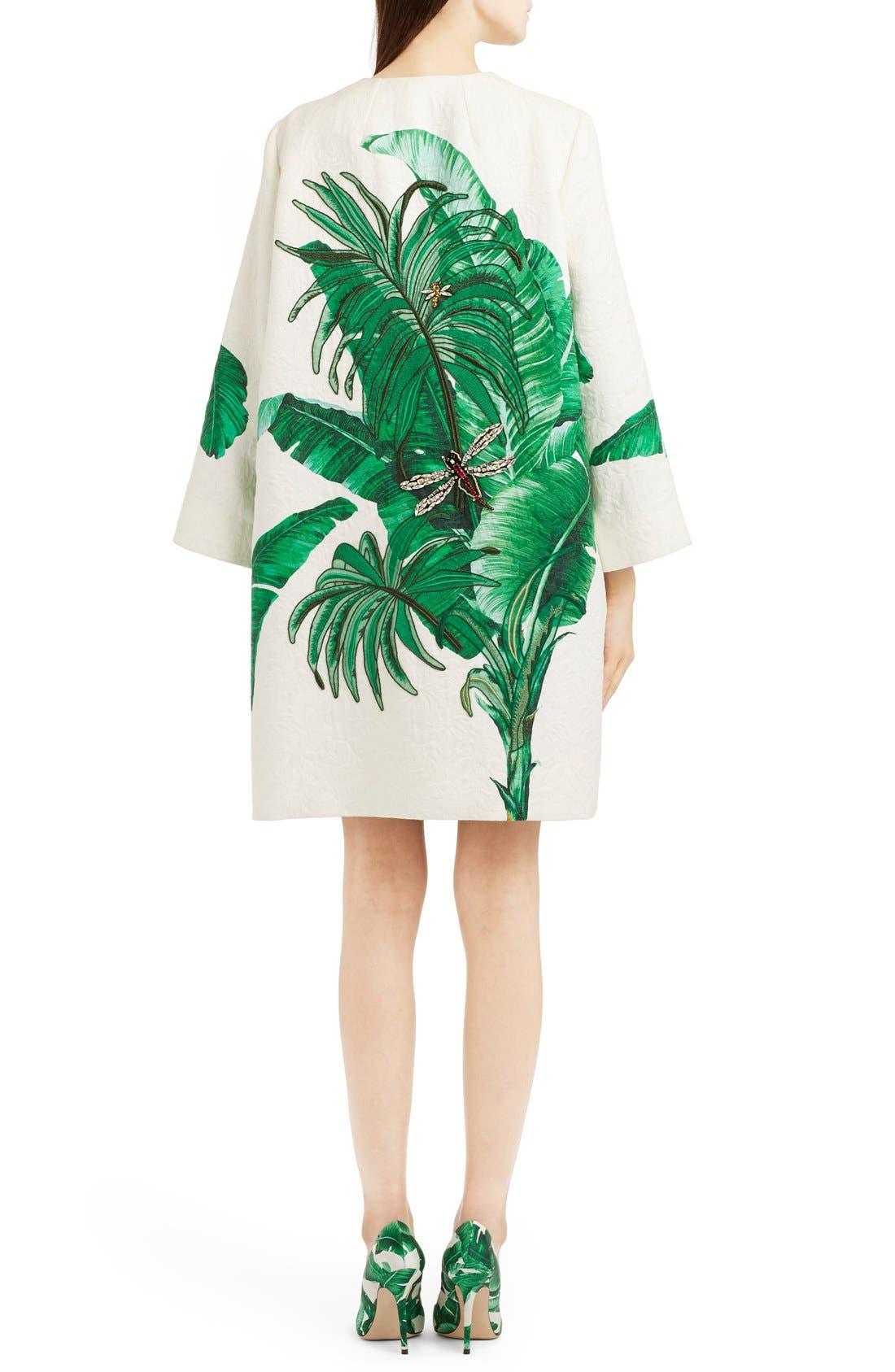 Alternate Image 2  - Dolce&Gabbana Crystal Embellished Banana Leaf Print Brocade Topper