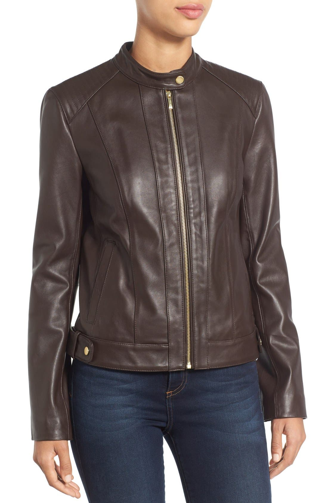 Alternate Image 4  - Cole Haan Leather Moto Jacket (Regular & Petite)