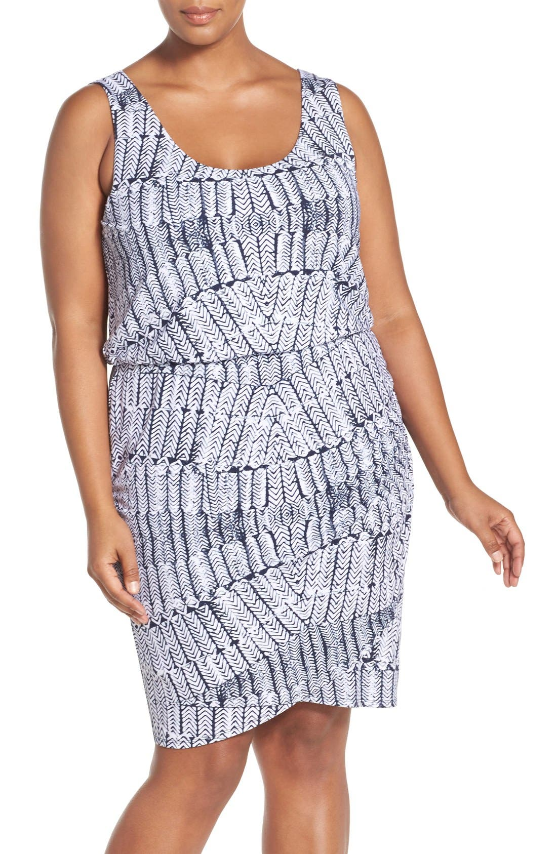 Jan Print Jersey Sleeveless Blouson Dress,                         Main,                         color, Stamped Feathers