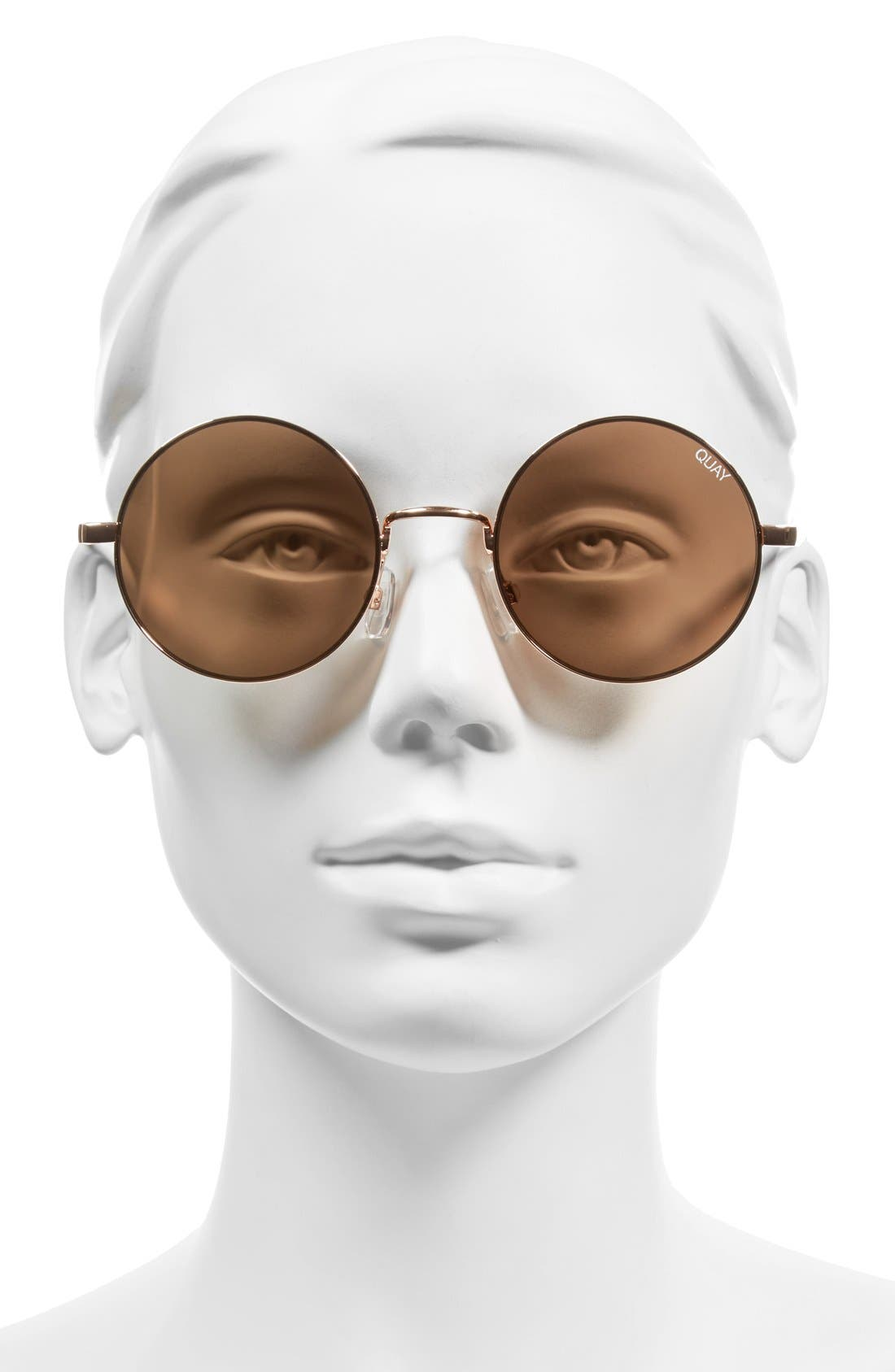 'Electric Dreams' 52mm Round Sunglasses,                             Alternate thumbnail 2, color,                             Rose Gold/ Brown