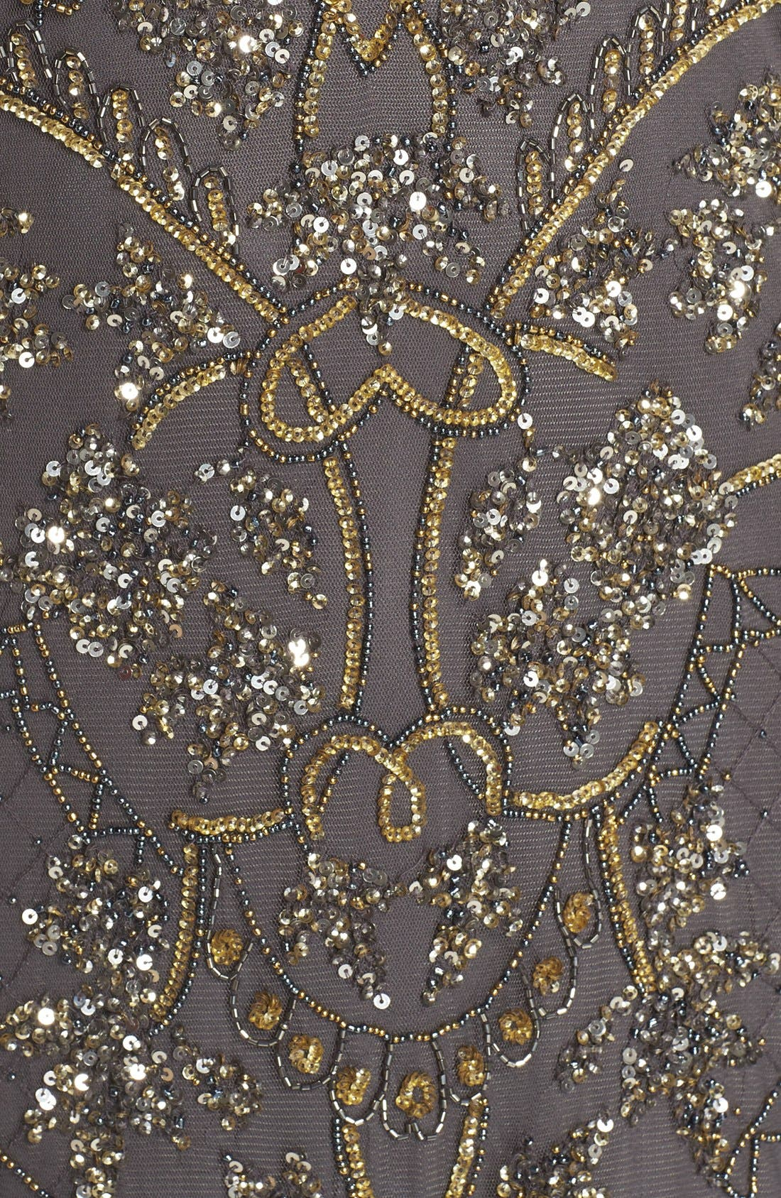 Alternate Image 5  - Pisarro Nights Beaded Short Sleeve Column Gown (Plus Size)