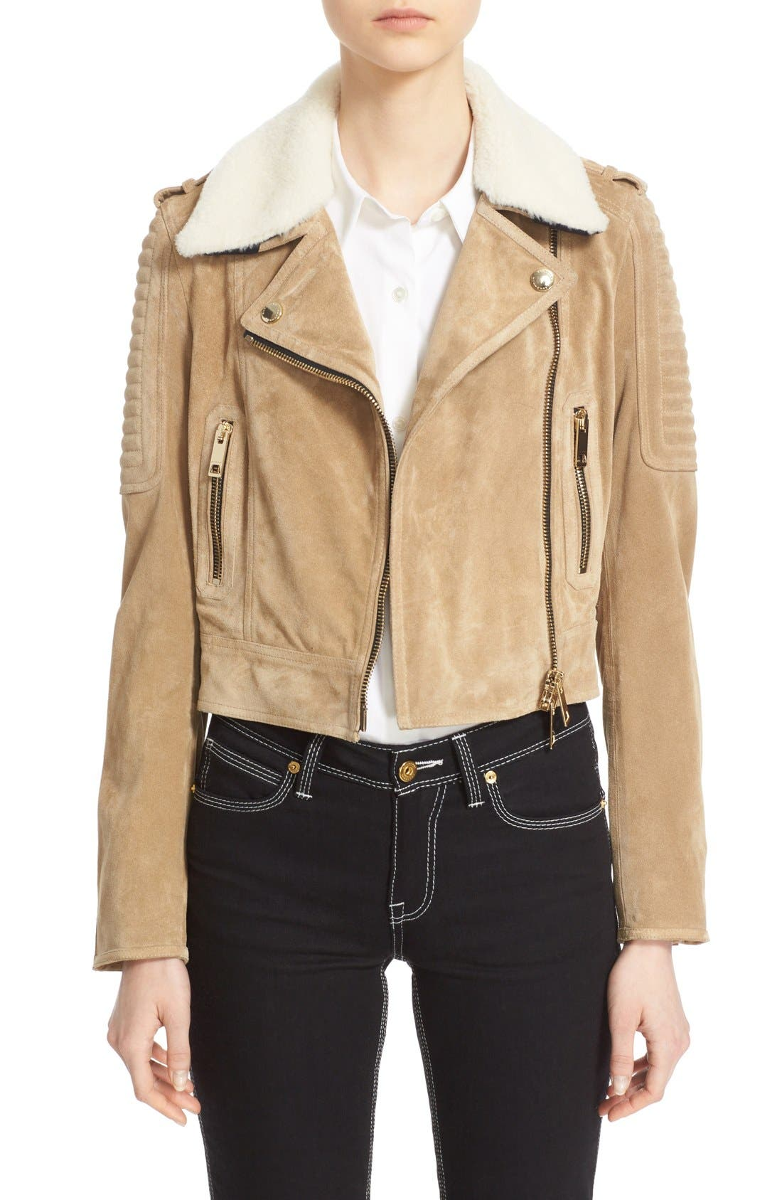 Main Image - Burberry 'Peakhurst' Suede Biker Jacket with Removable Genuine Shearling Collar