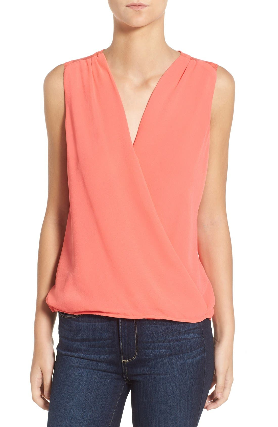 'Maiden' Surplice Front Top,                             Main thumbnail 1, color,                             Pacific Coral